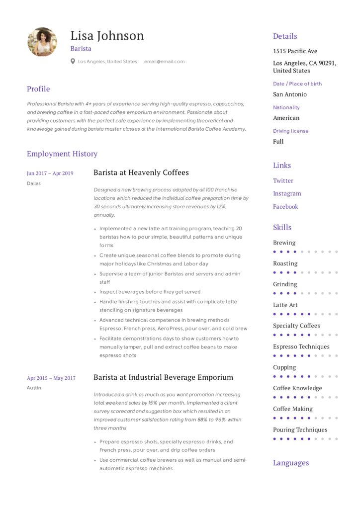 Barista Example Resume