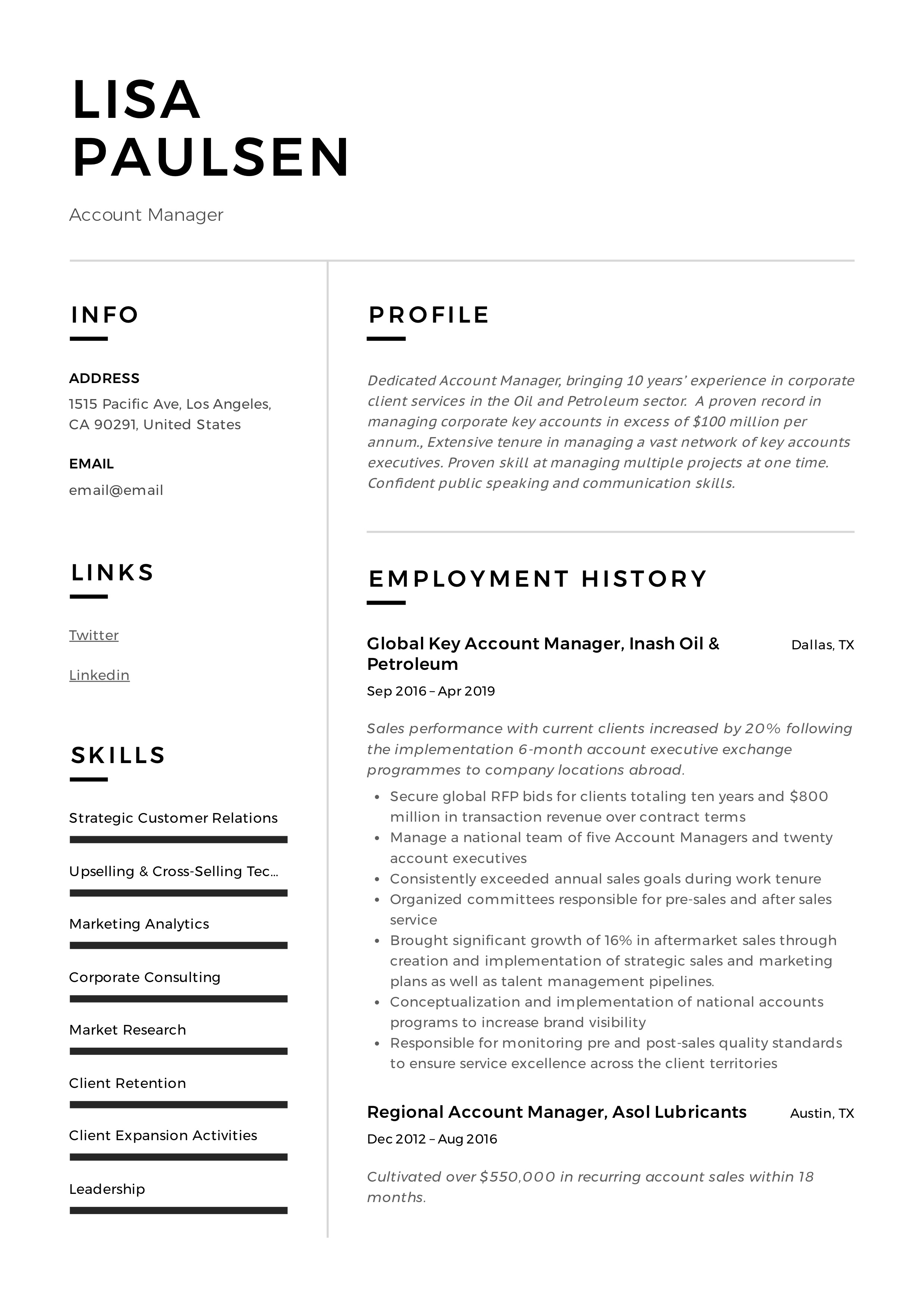 account manager resume  u0026 writing guide