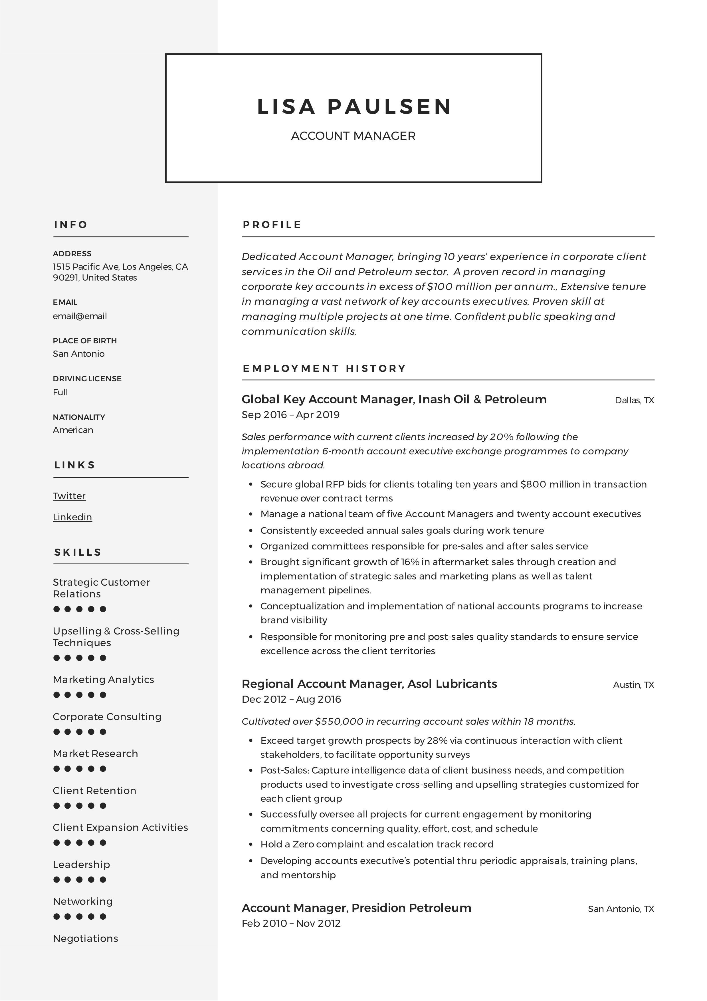 Account manager modern resume example
