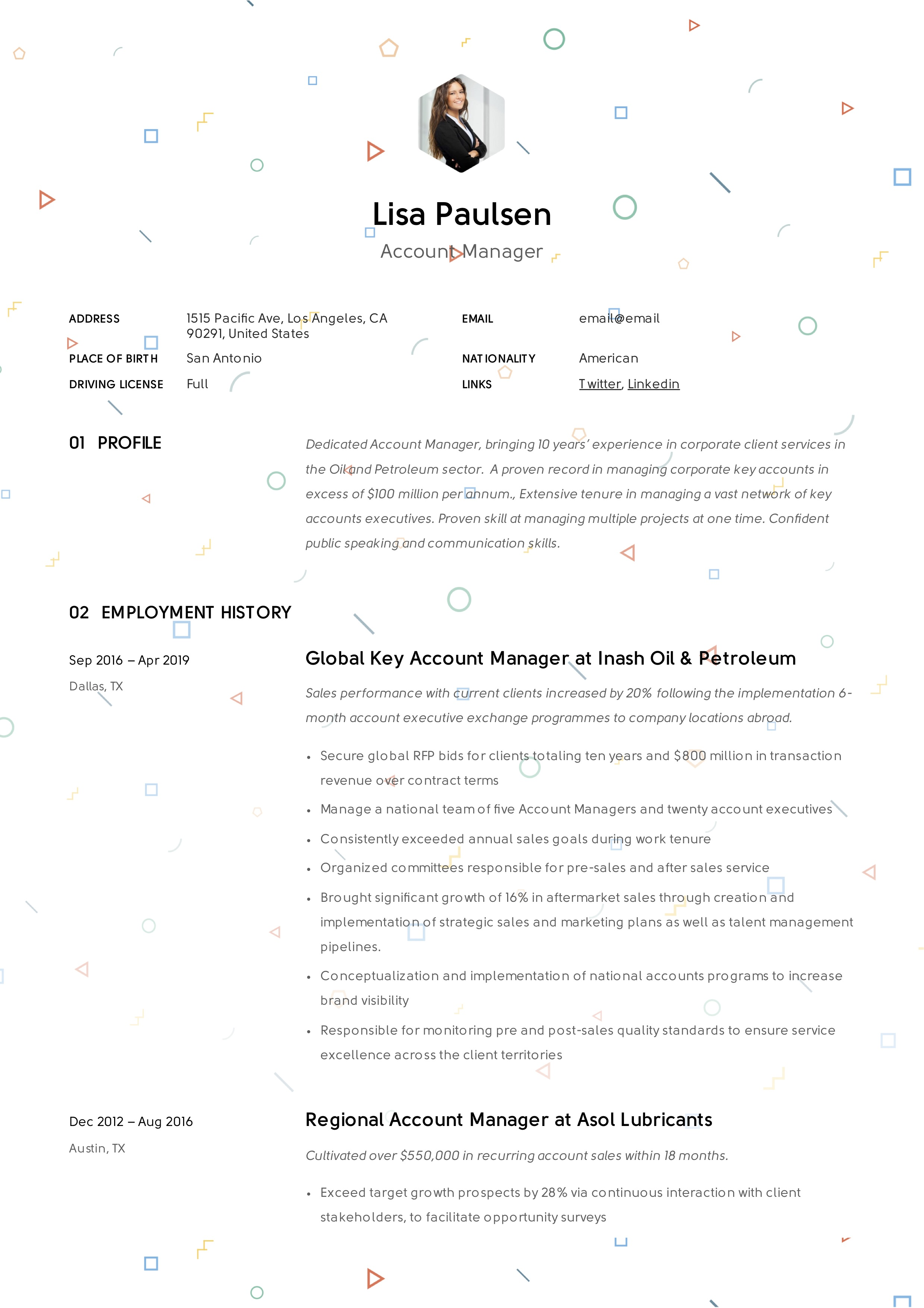 Account manager creative resume sample