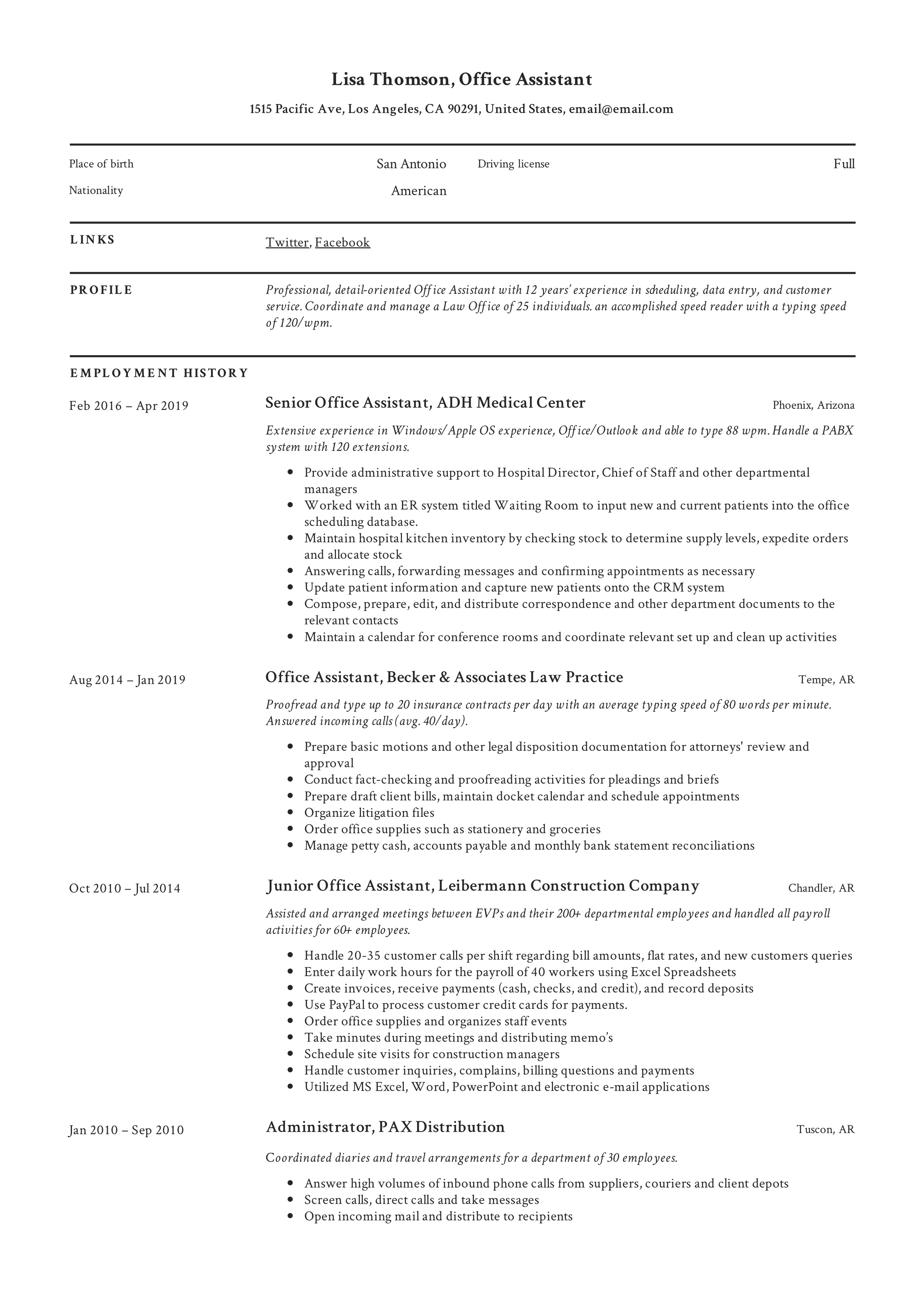 Office Assistant Resume Writing Guide 12 Resume Templates 2020