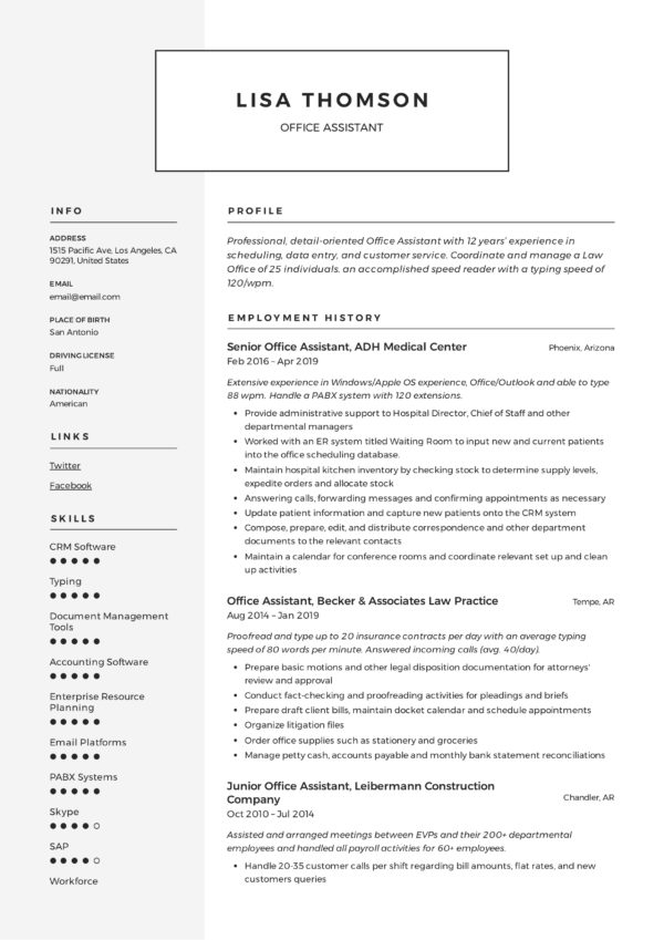 Modern Office Assistant Resume