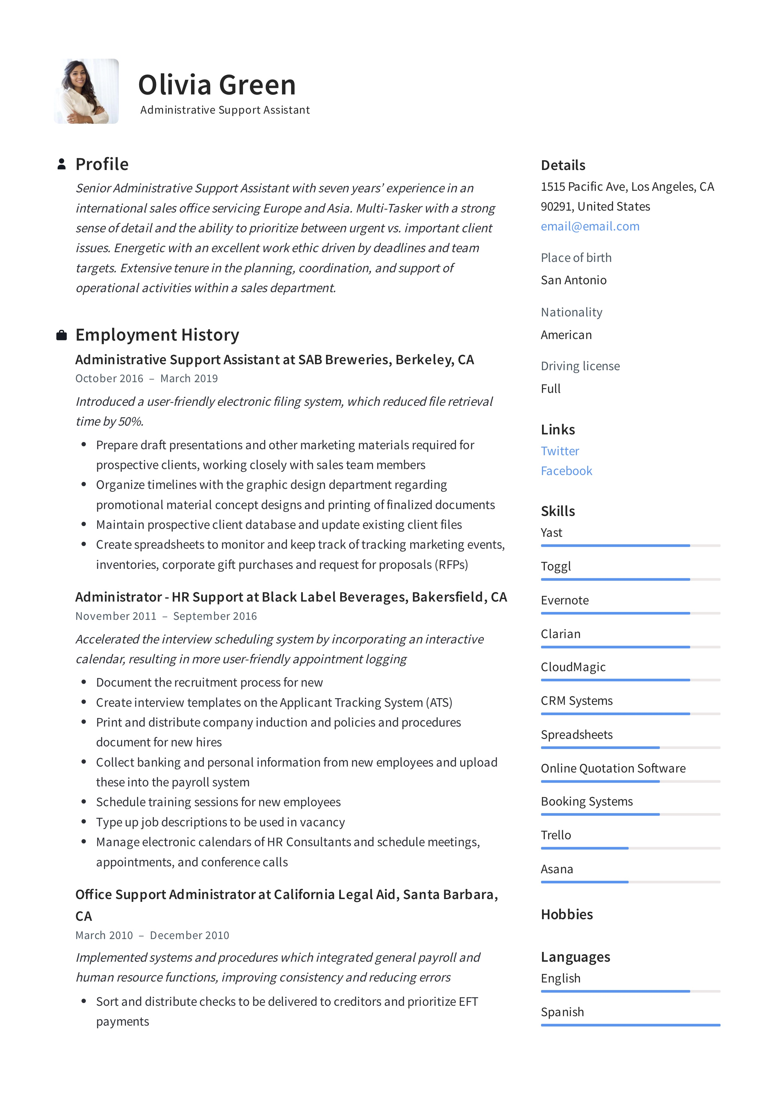 Administrative Support Assistant Resume Examples