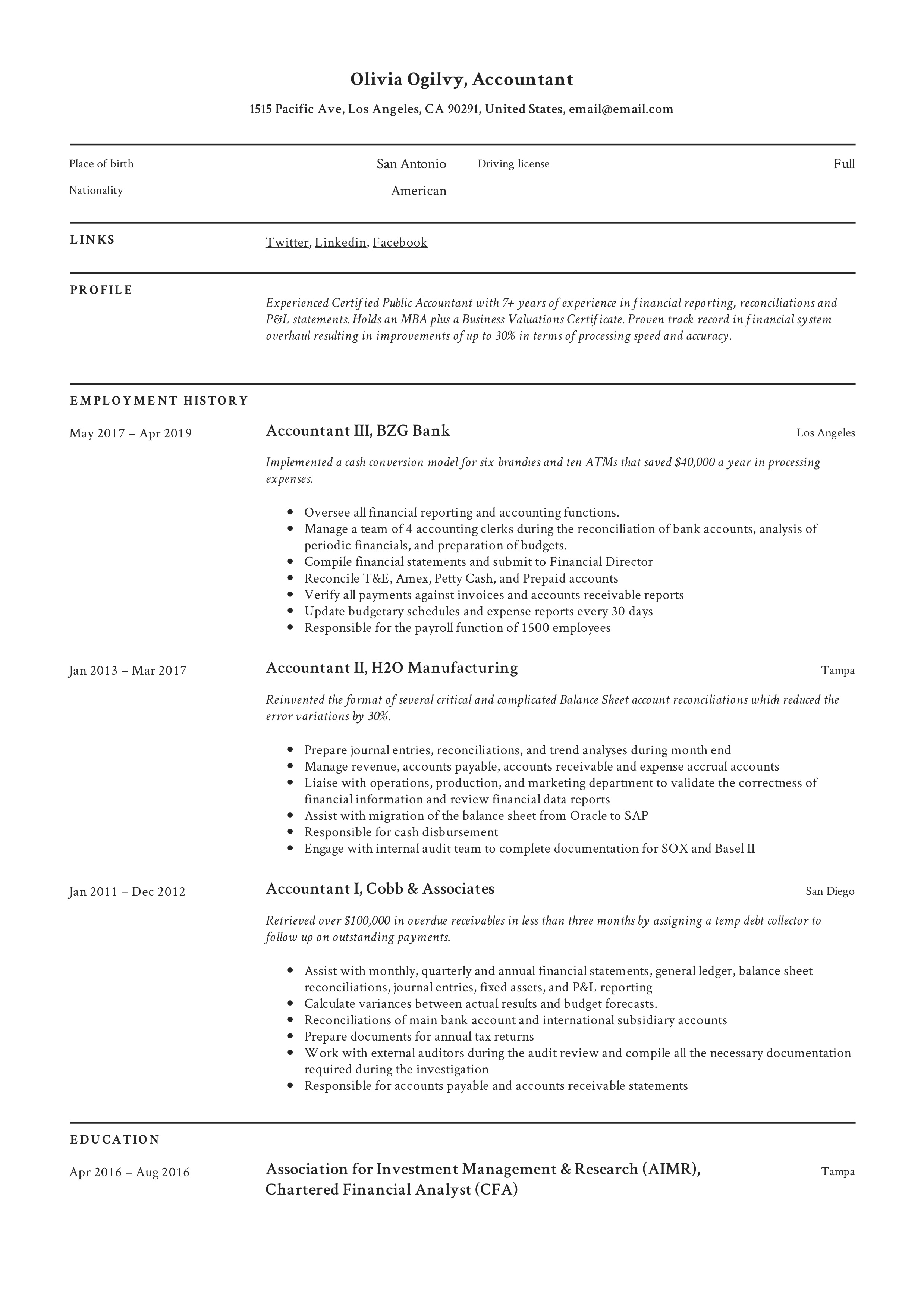 Accountant Resume Writing Guide 12 Resume Templates Pdf
