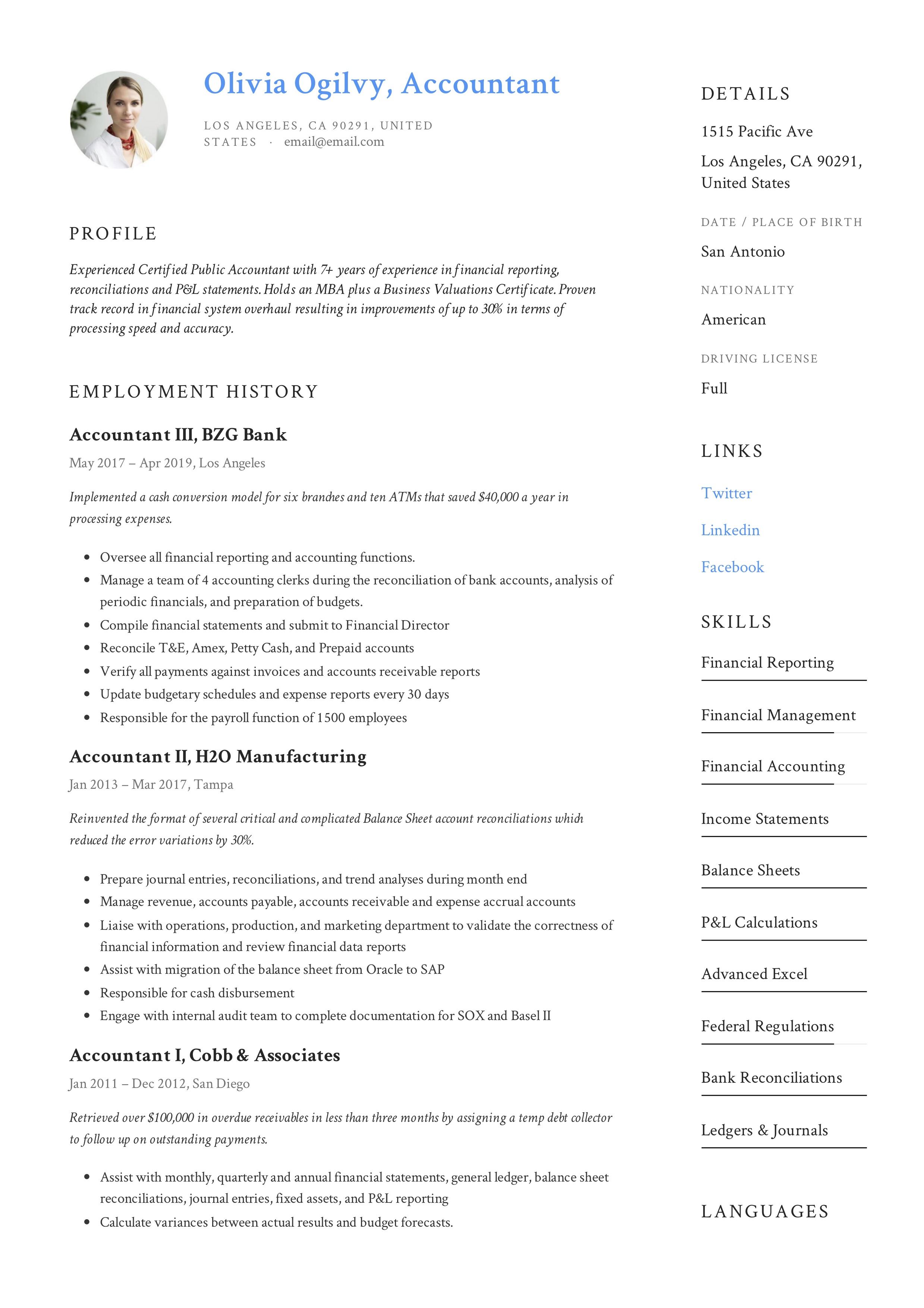 Accountant Sample Resume