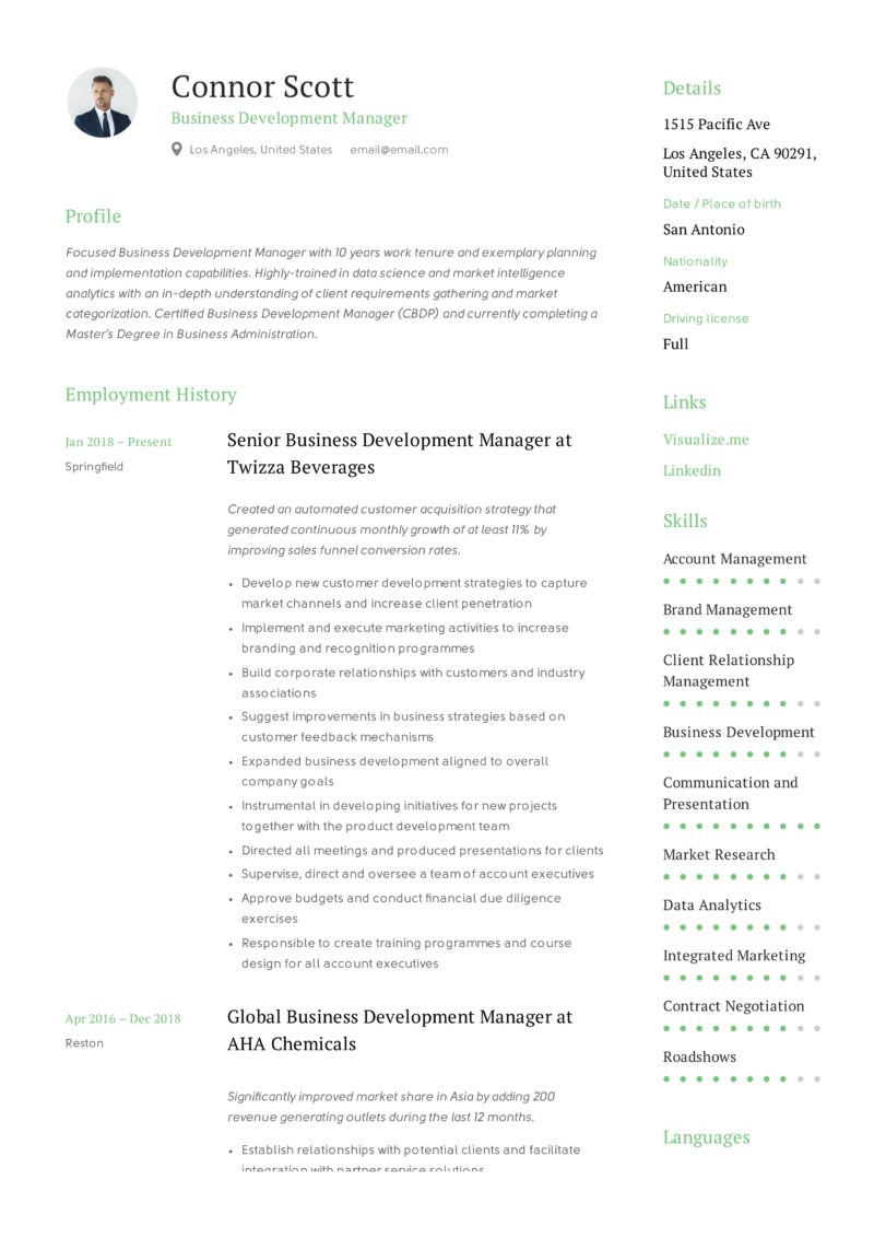Business Development Manager Resume