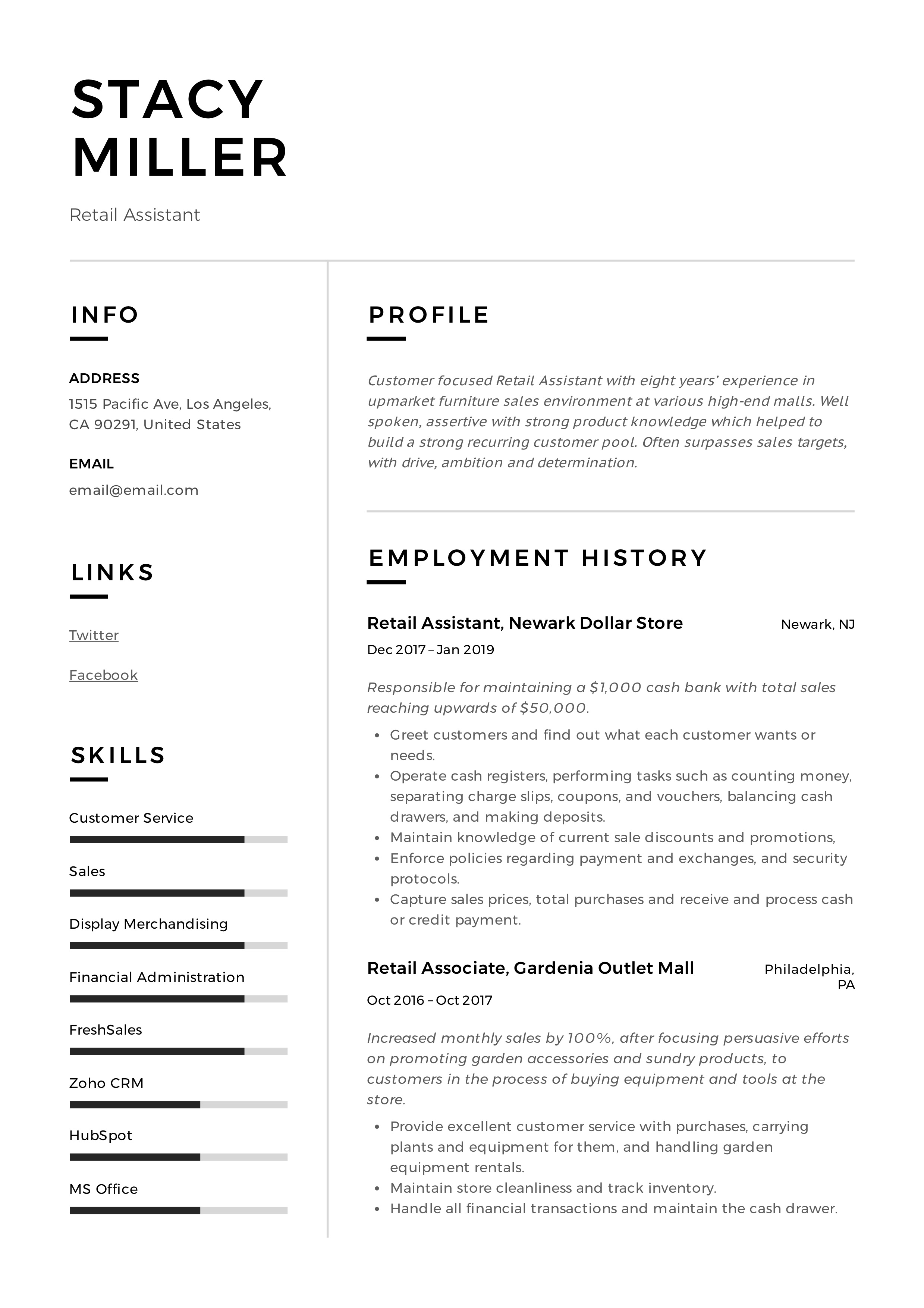 12 retail assistant resume samples  u0026 writing guide