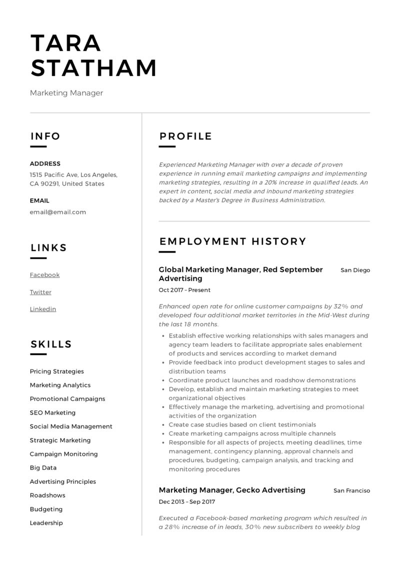 Modern design marketing manager sample resume