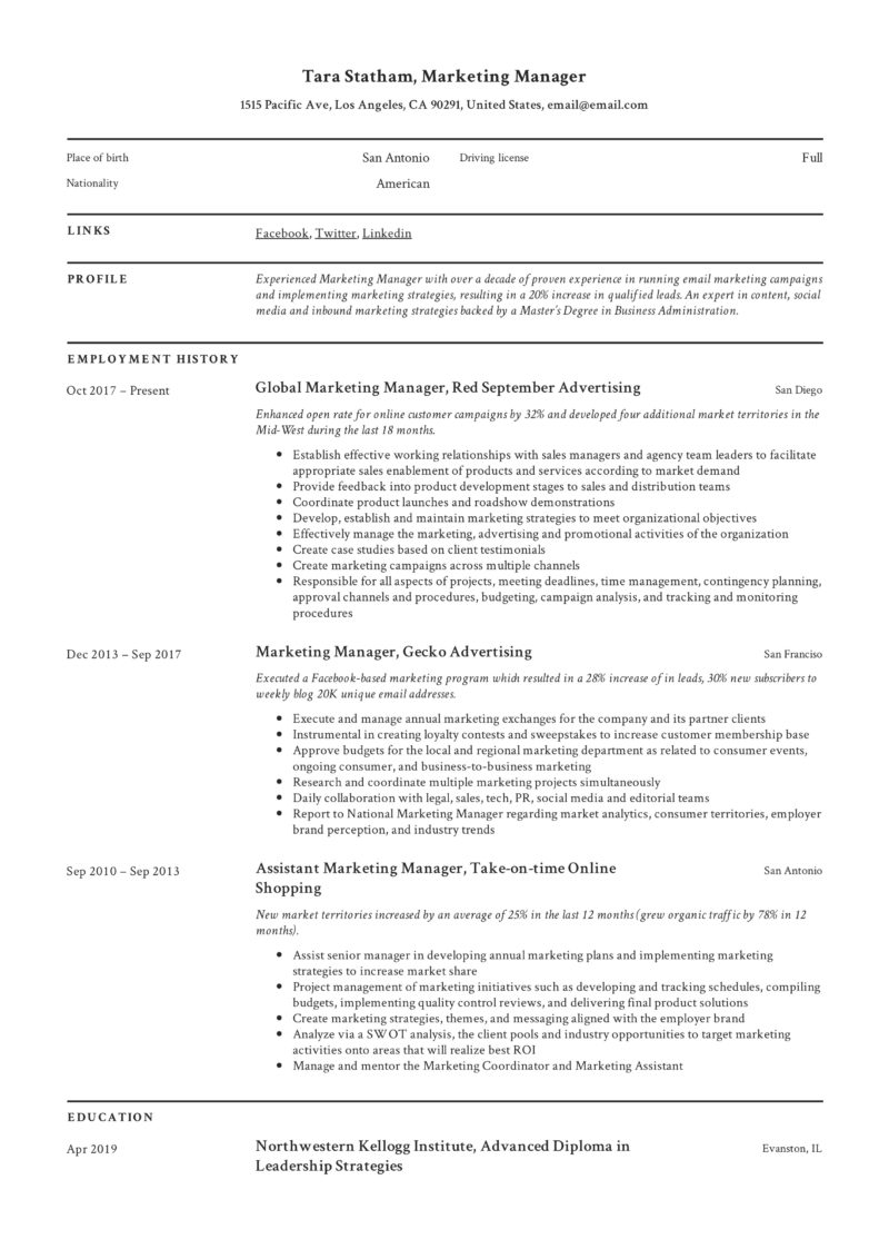 marketing manager Classic resume format