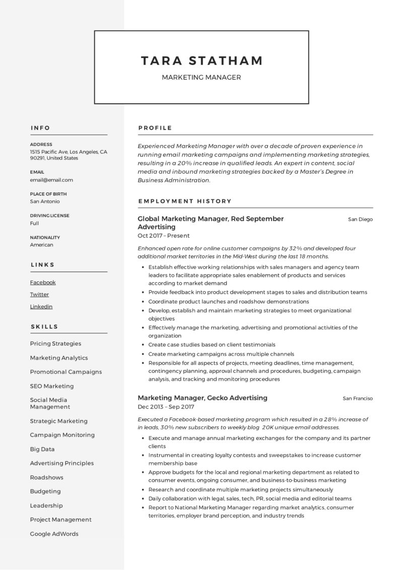 modern marketing manager resume