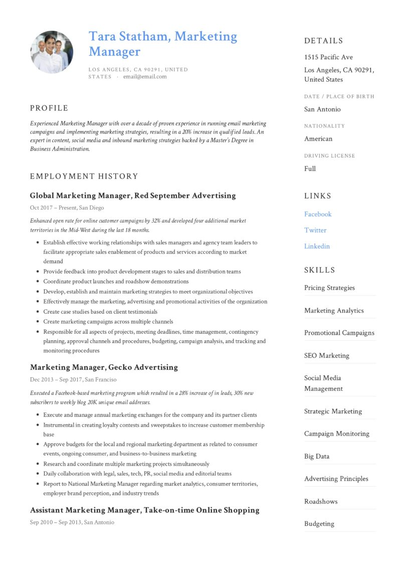 Design marketing manager resume