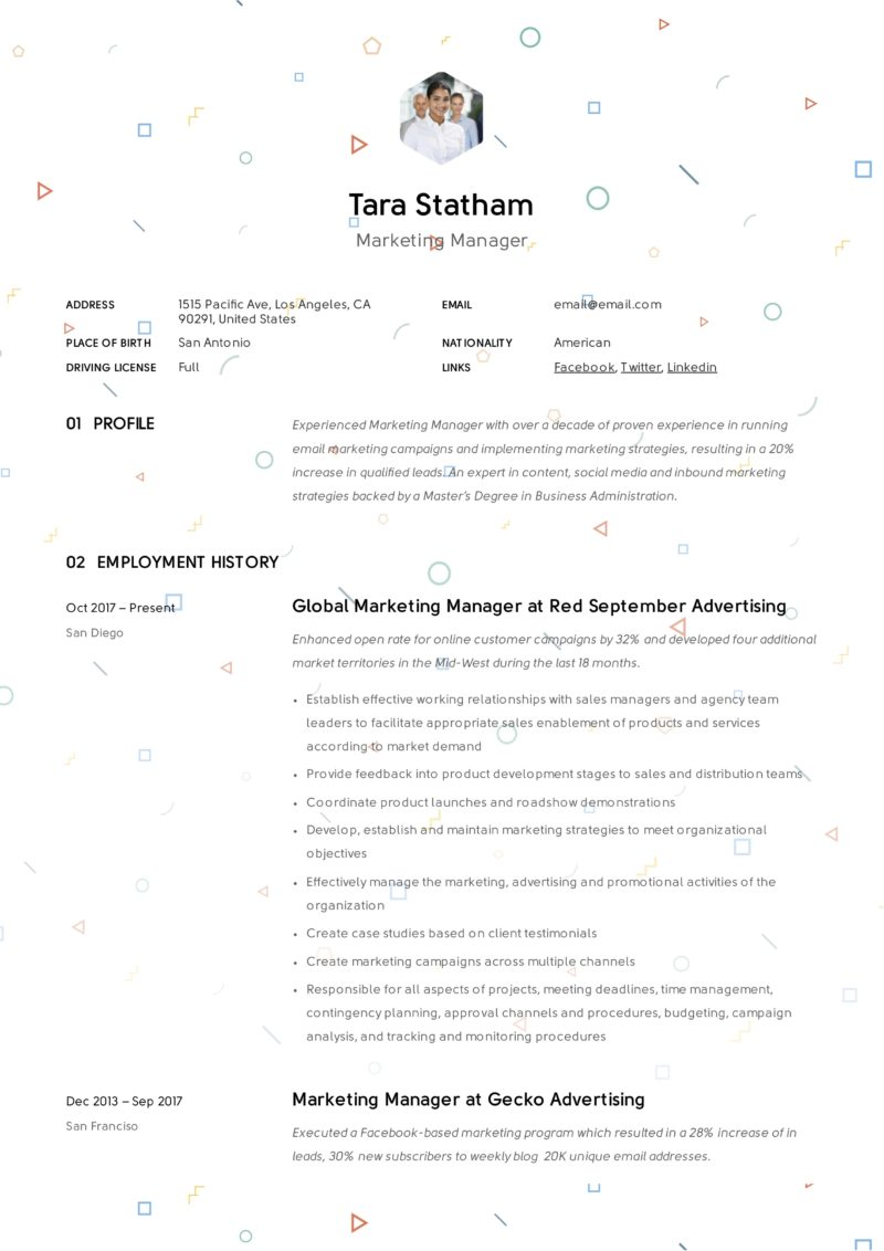 Marketing manager creative resume example