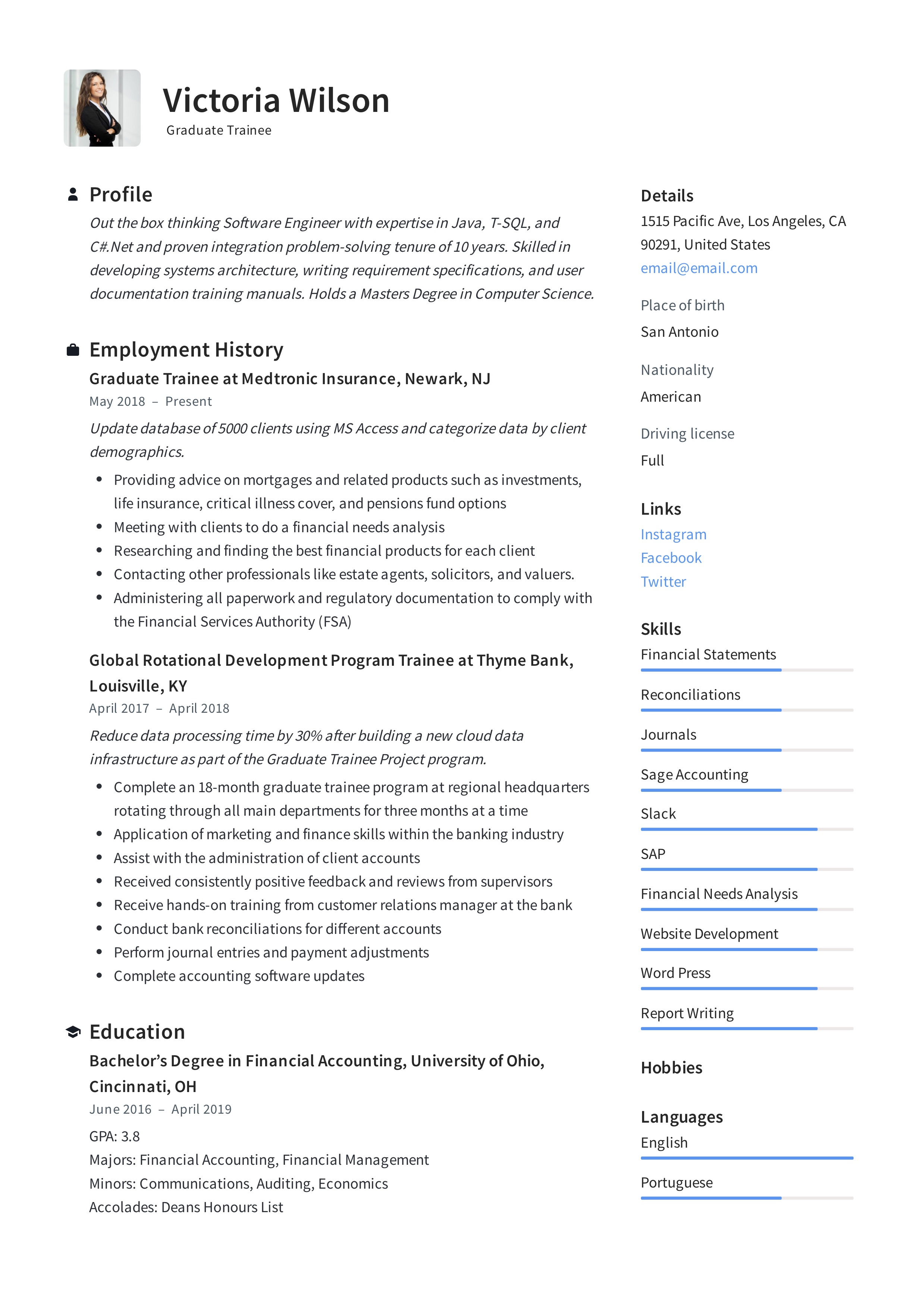 Graduate Trainee Resume Writing Guide 12 Resume Examples Pdf