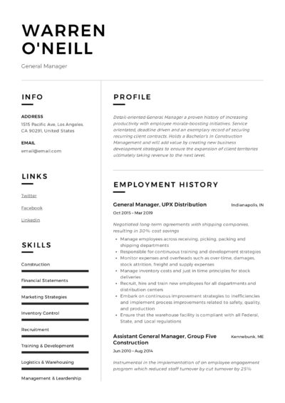 General Manager Sample Resume