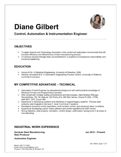 word resume template with photo