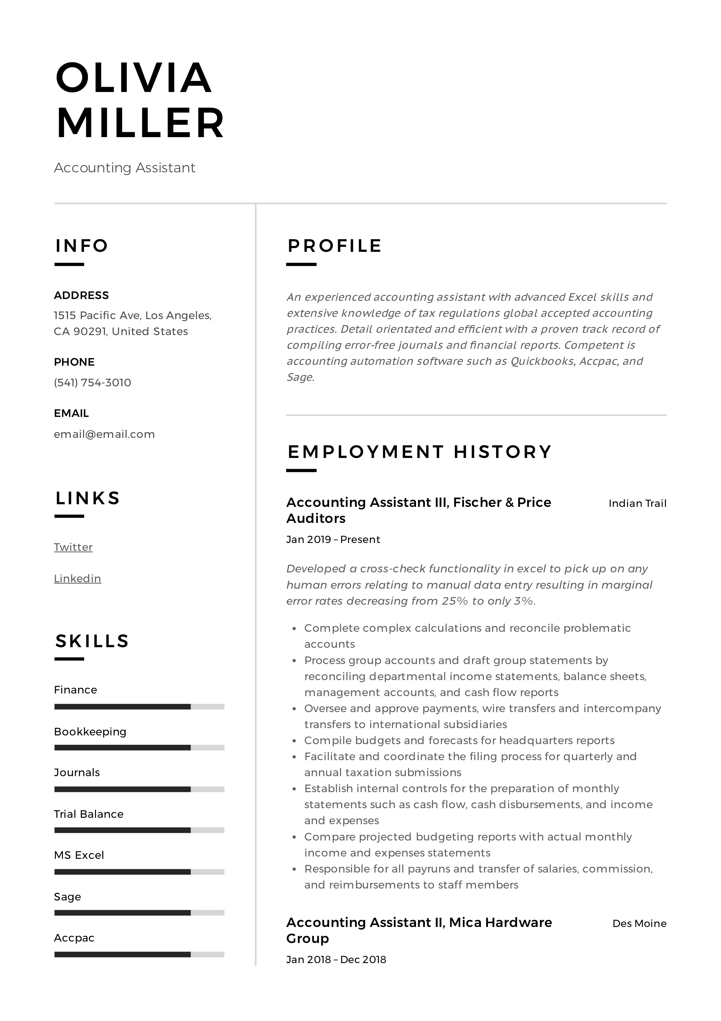 Accounting Assistant Resume Writing Guide 12 Examples Pdf