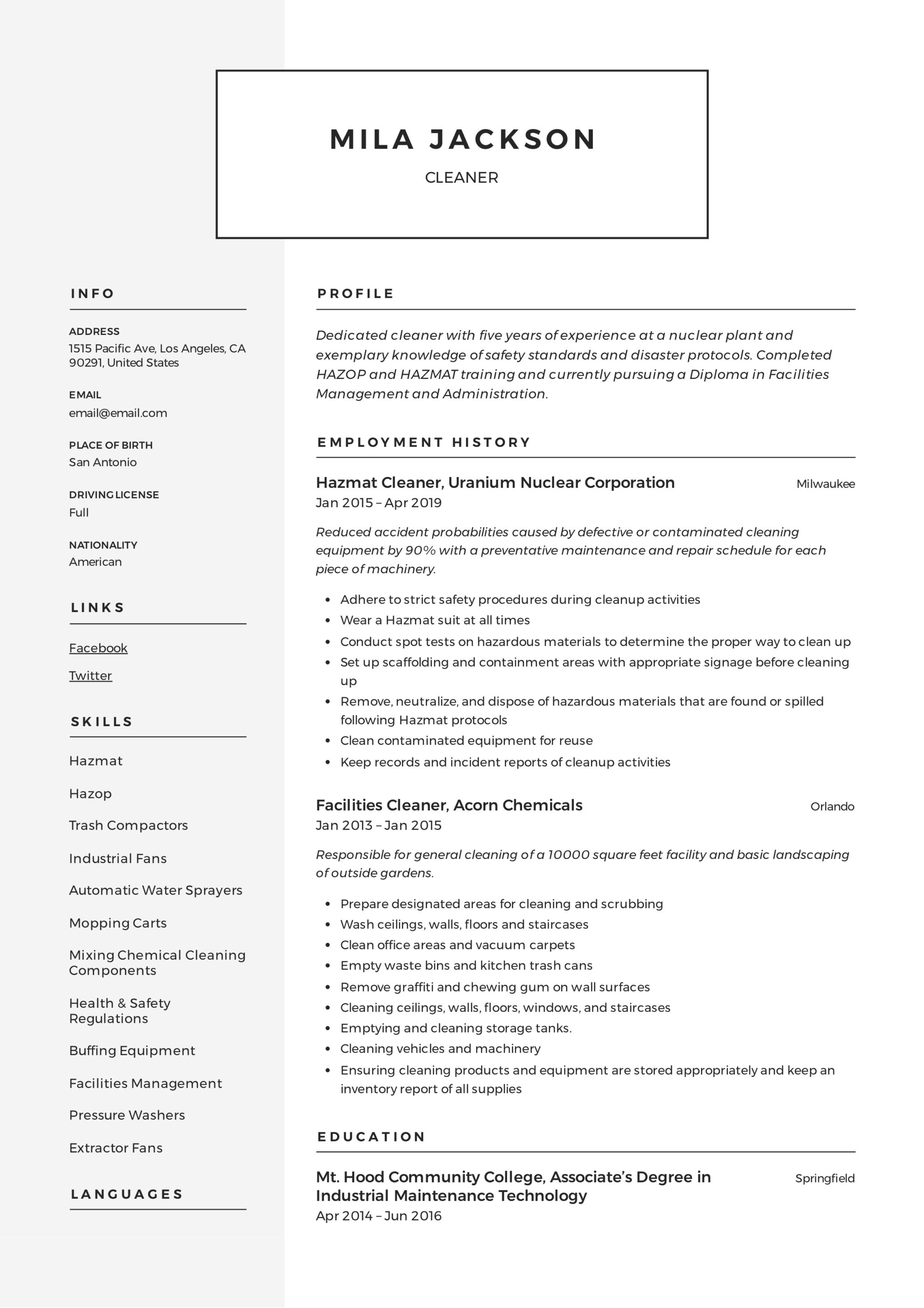 Cleaner Resume Amp Writing Guide 12 Templates Pdf 20