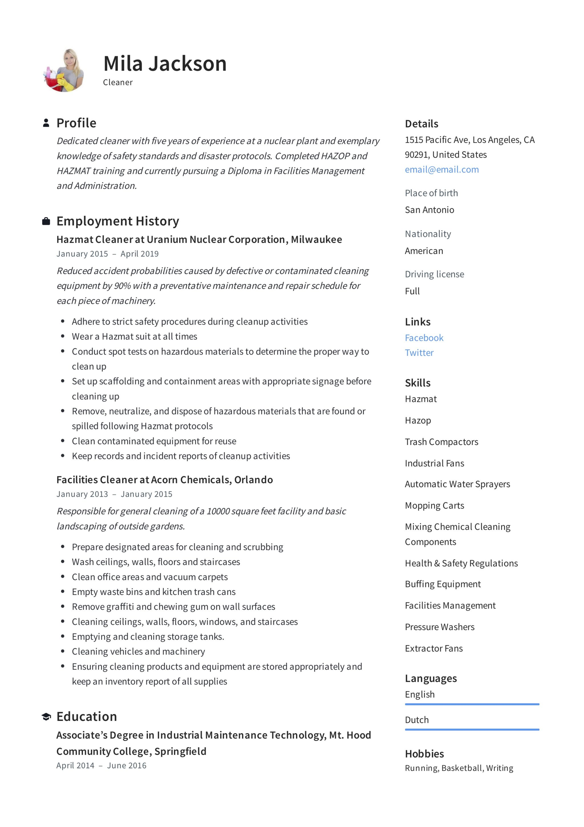 Cleaner Resume