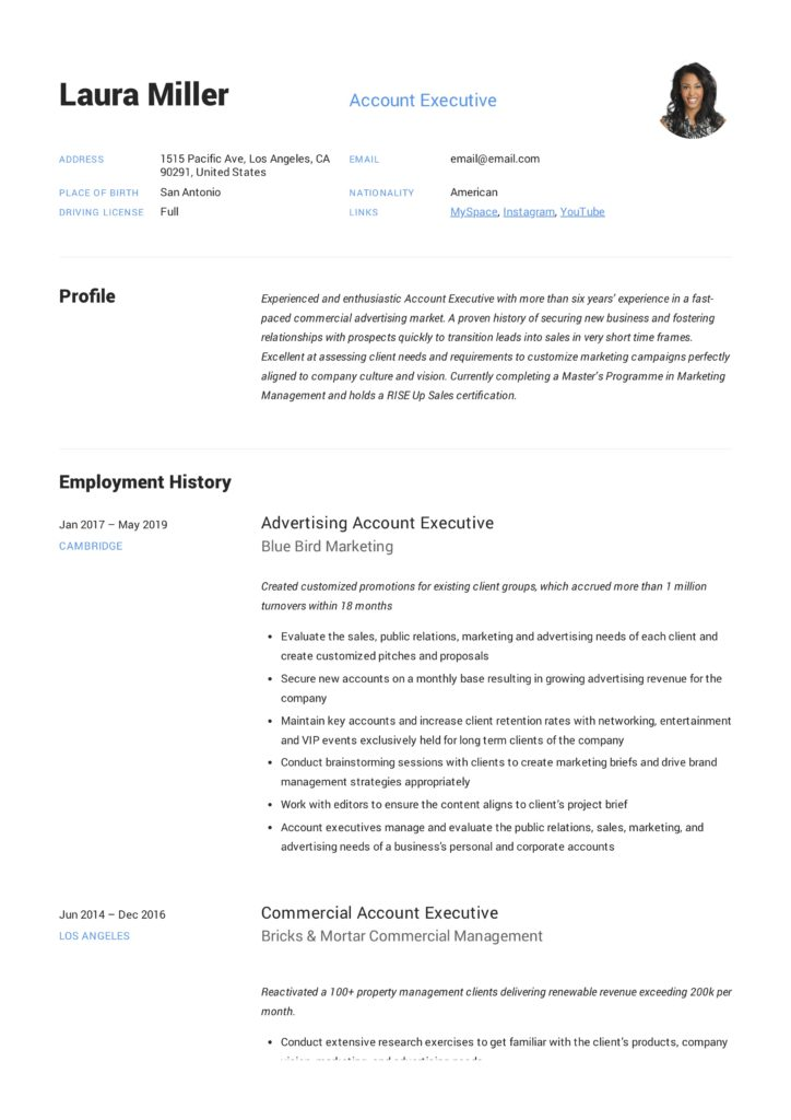 Resume Account Executive