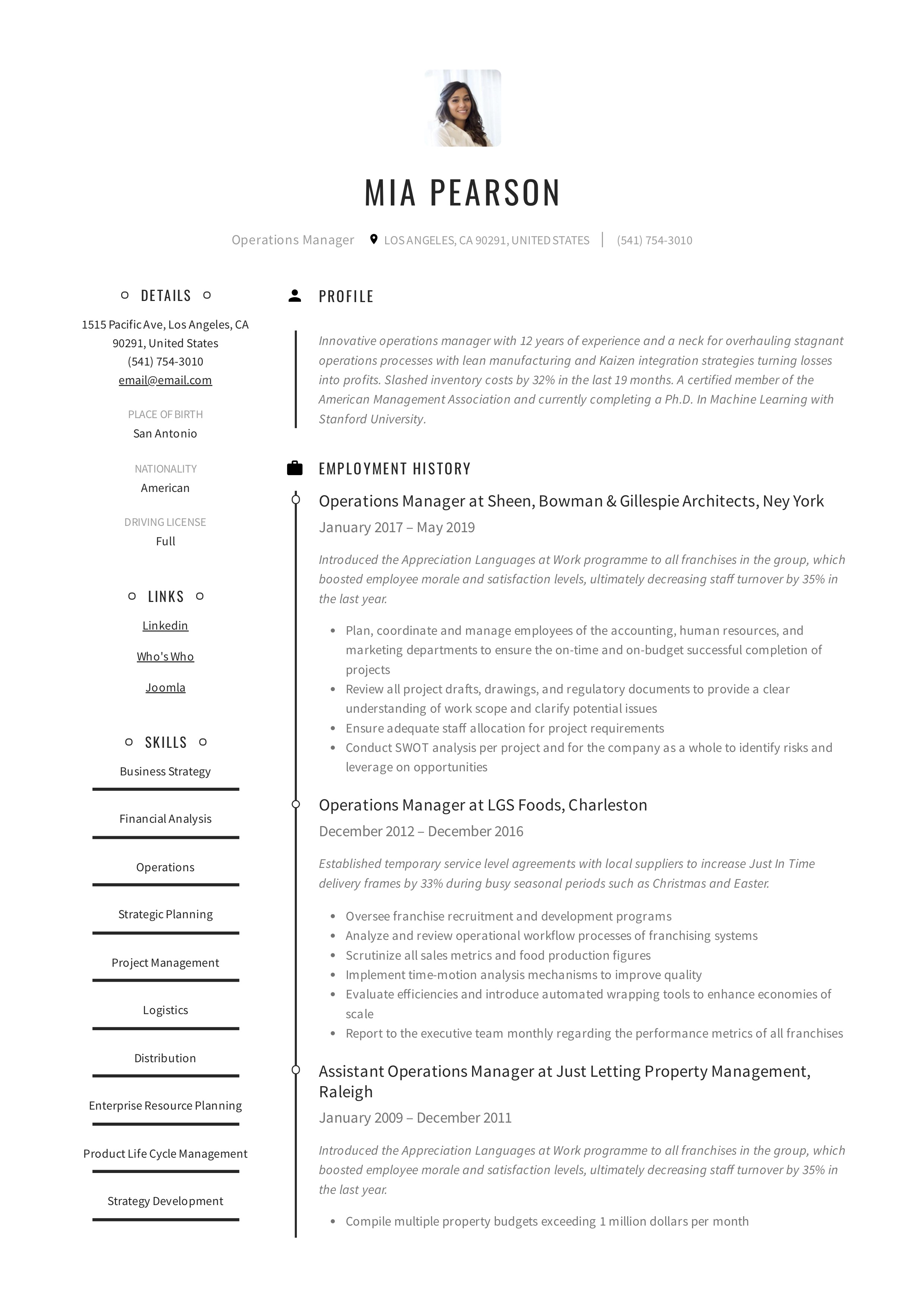 Creative Example Resume Operations Manager