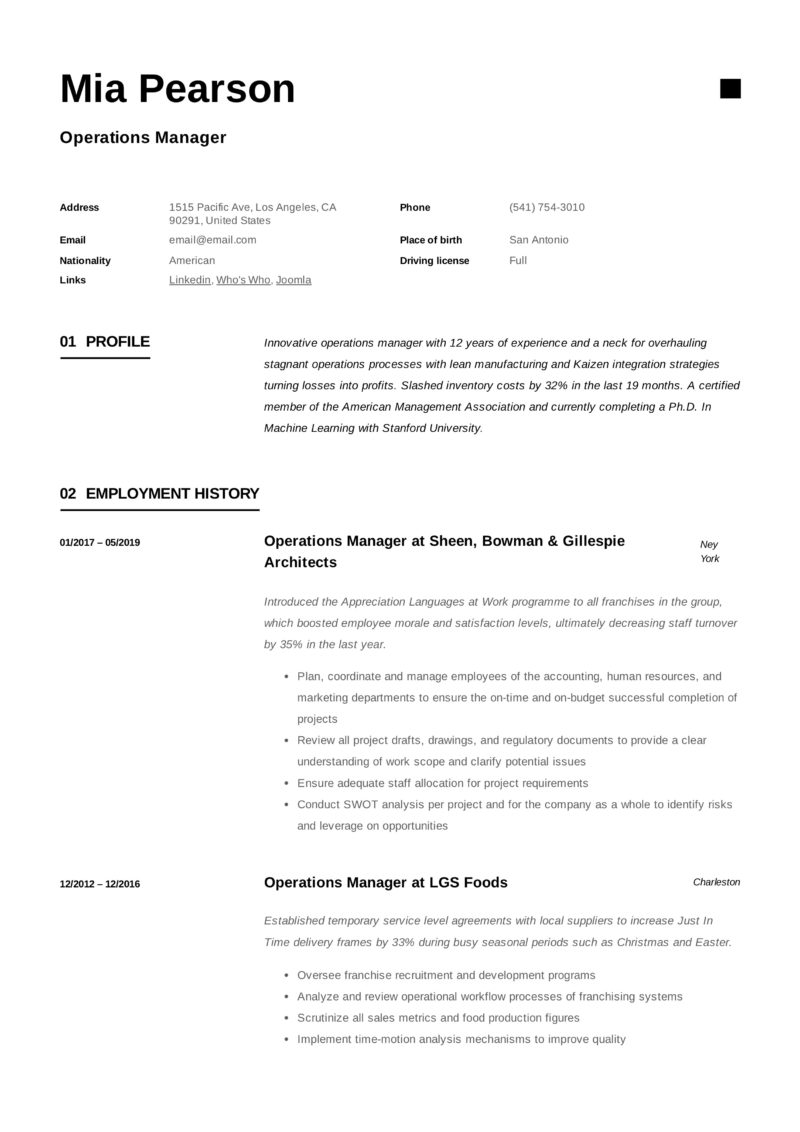 Sample Resume Operations Manager