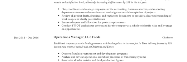 Operations Manager Resume Writing Guide 12 Examples Pdf