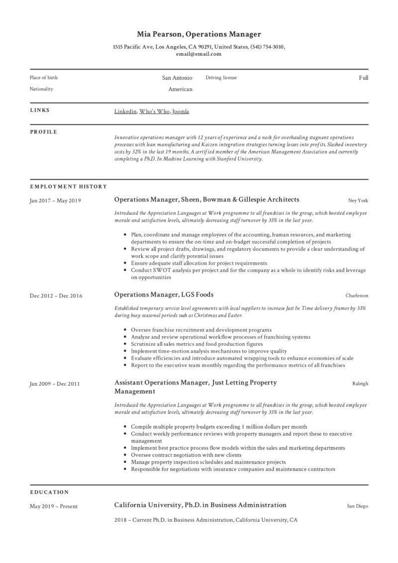 Classic Example Resume Operations Manager