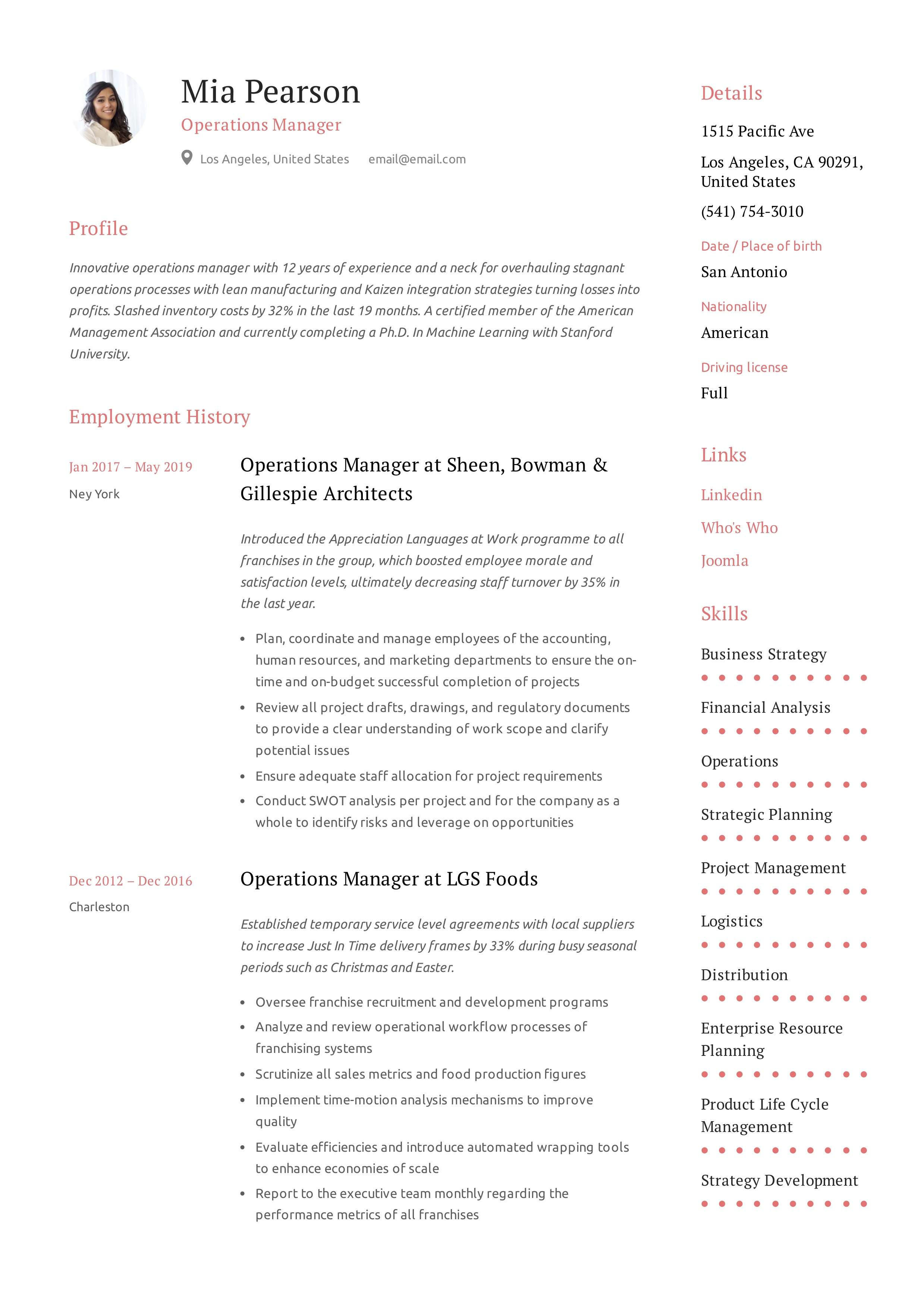 Operations Manager Sample Resume