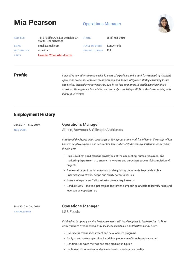 modern Example Resume Operations Manager