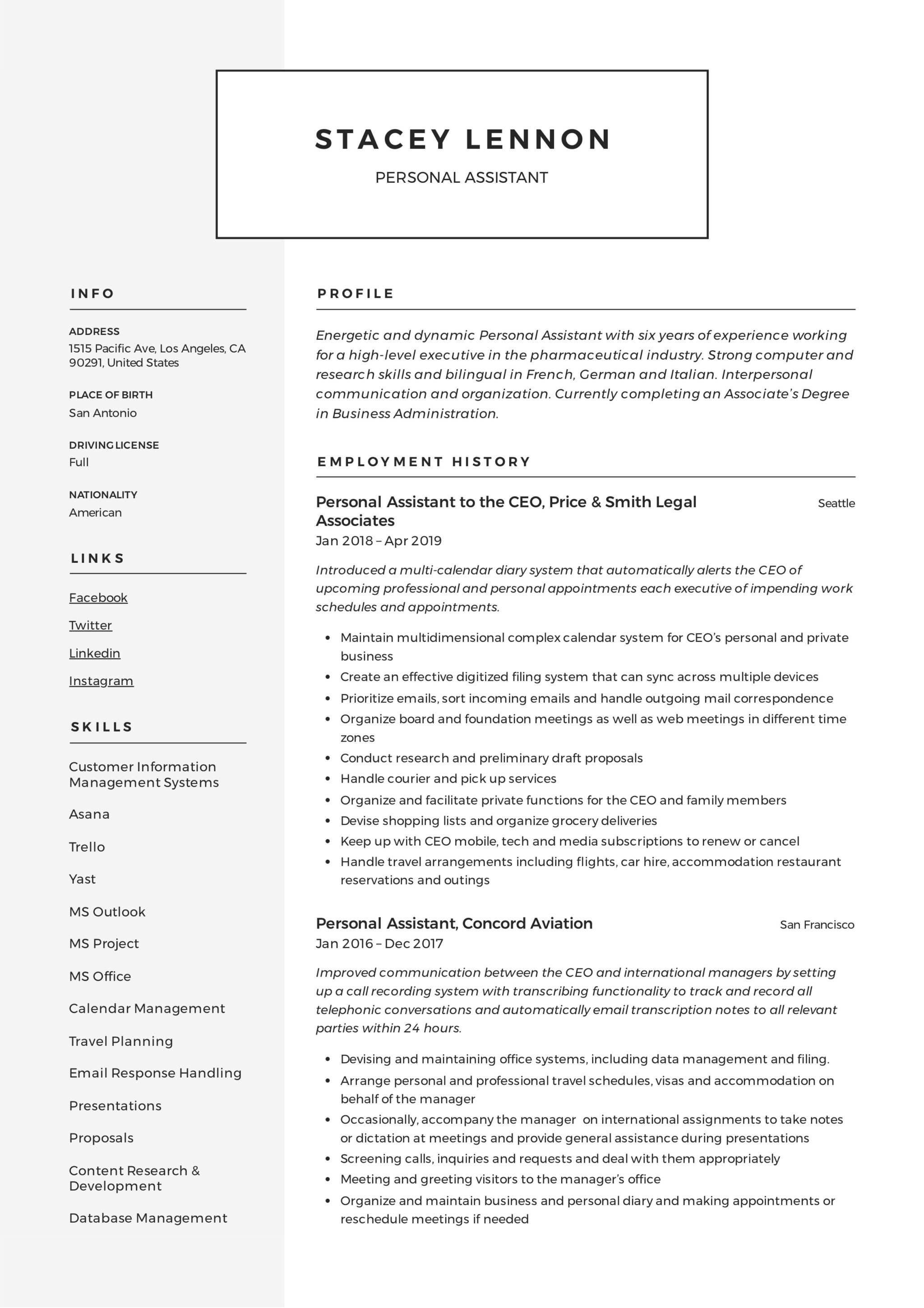 sample personal assistant resume