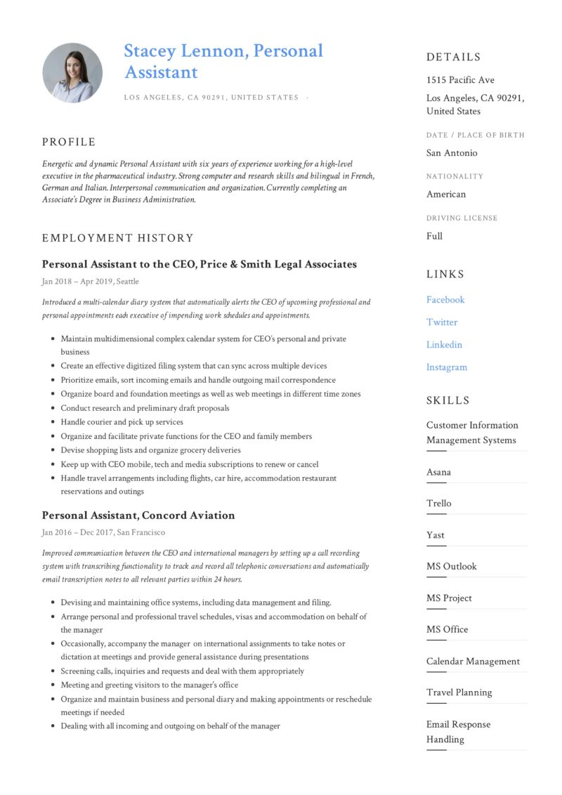 personal assistant resume template