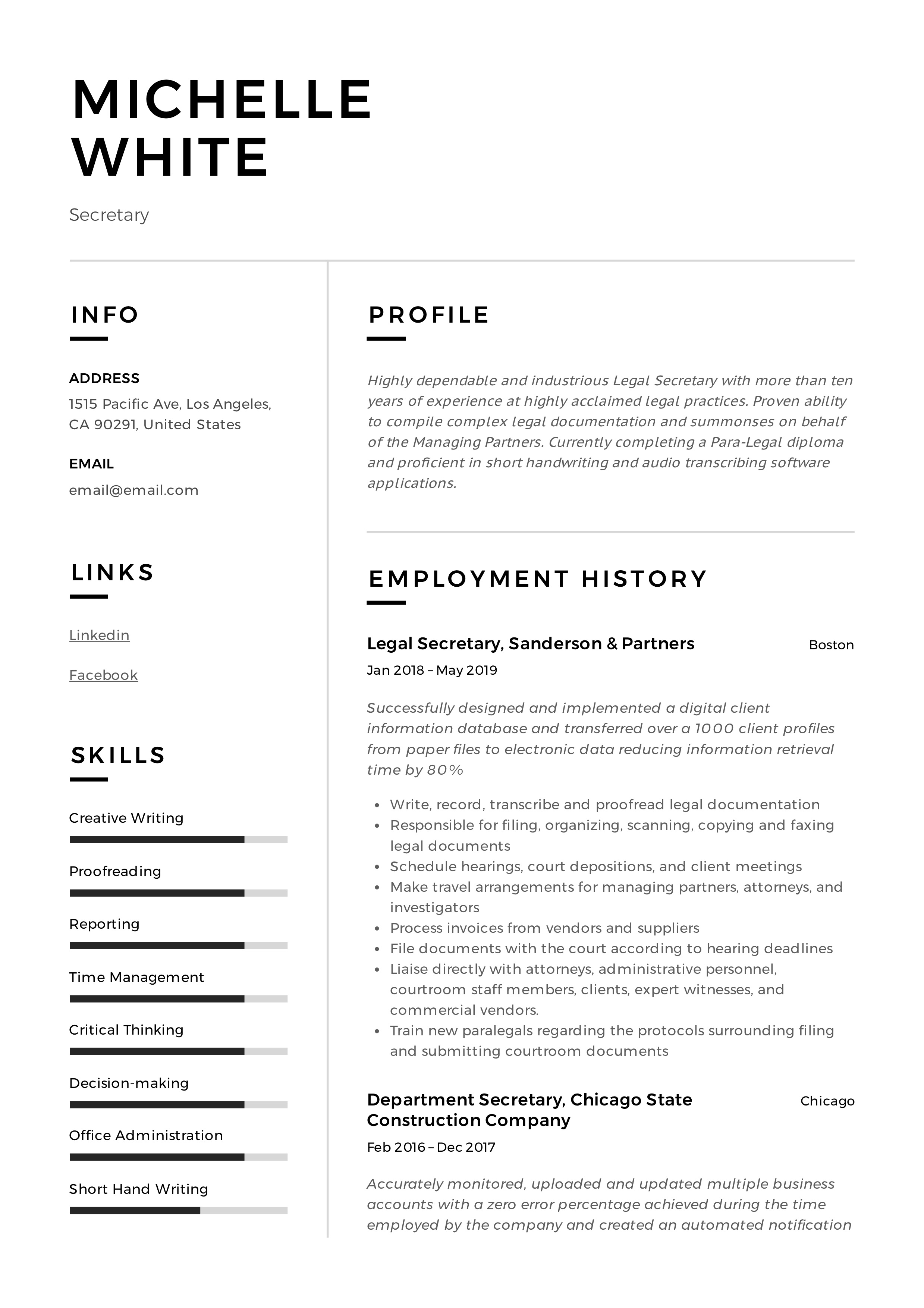 Secretary Resume Writing Guide 12 Template Samples Pdf