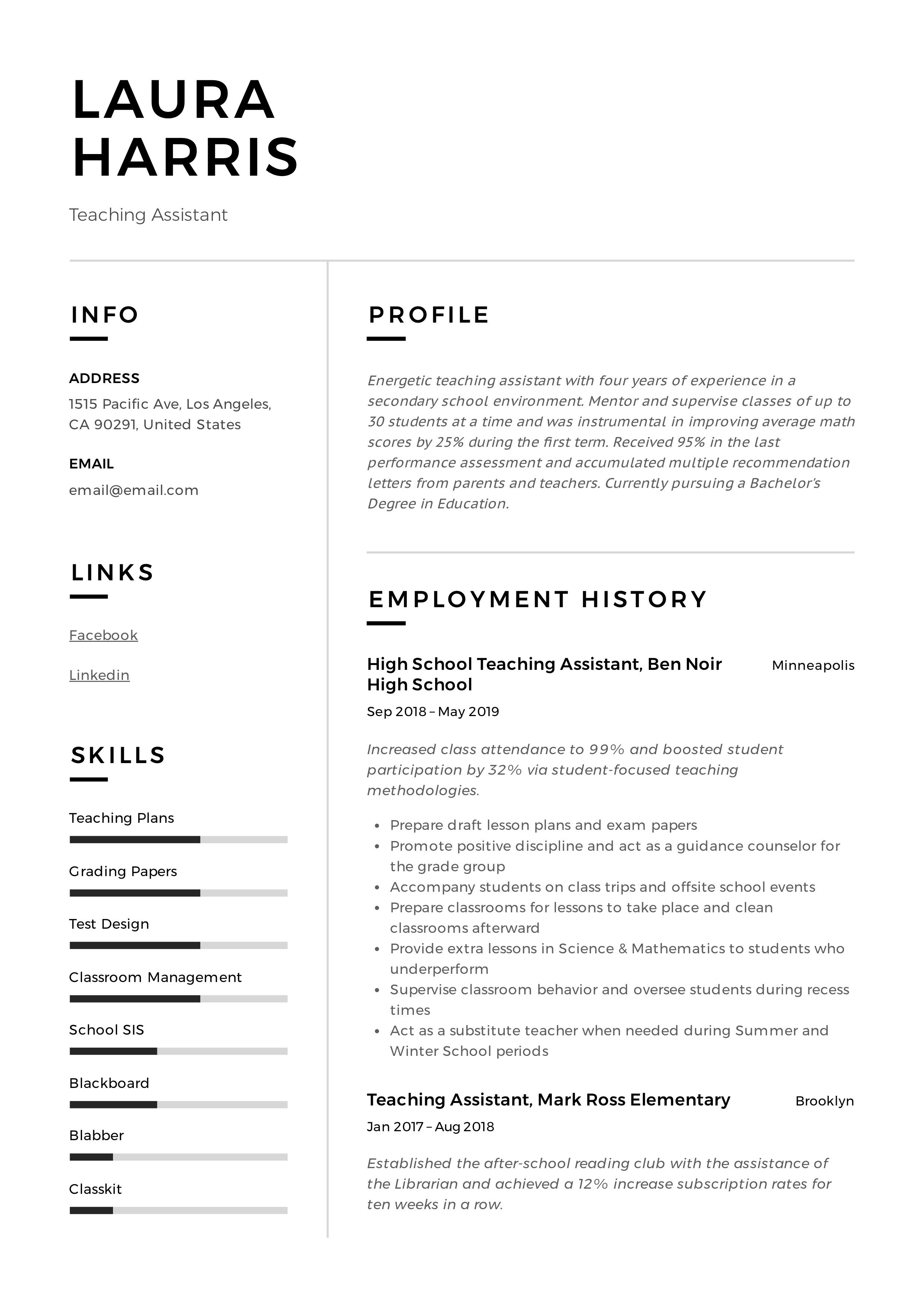 Teaching Assistant Resume Writing Guide 12 Templates Pdf