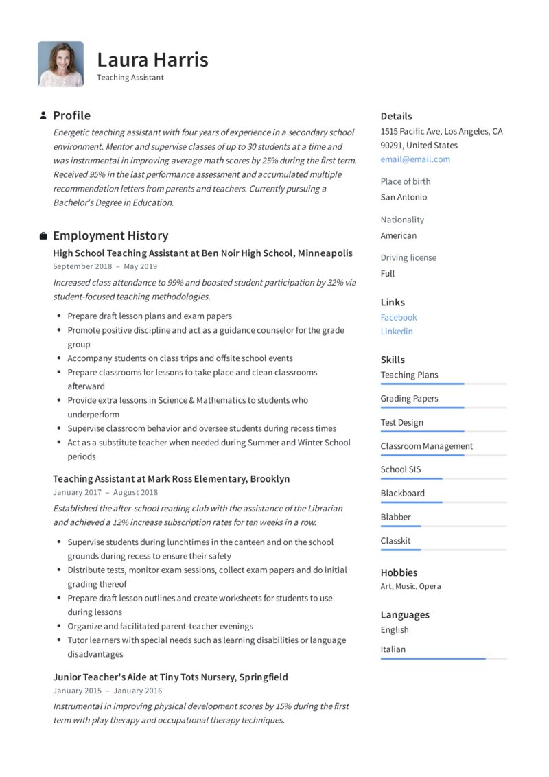 Teaching Assistant Resume Example