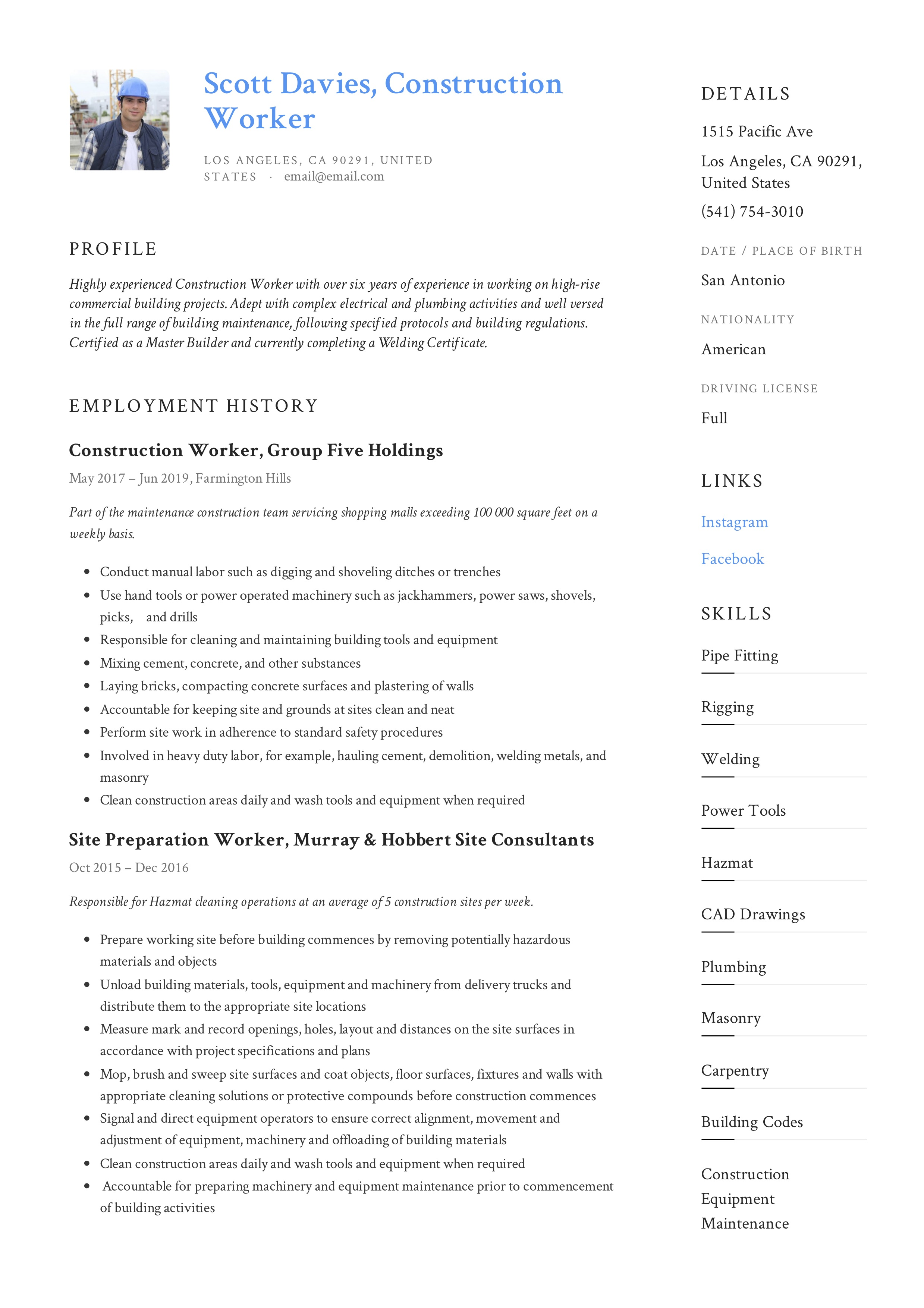 Construction Worker Resume Amp Writing Guide 12 Templates