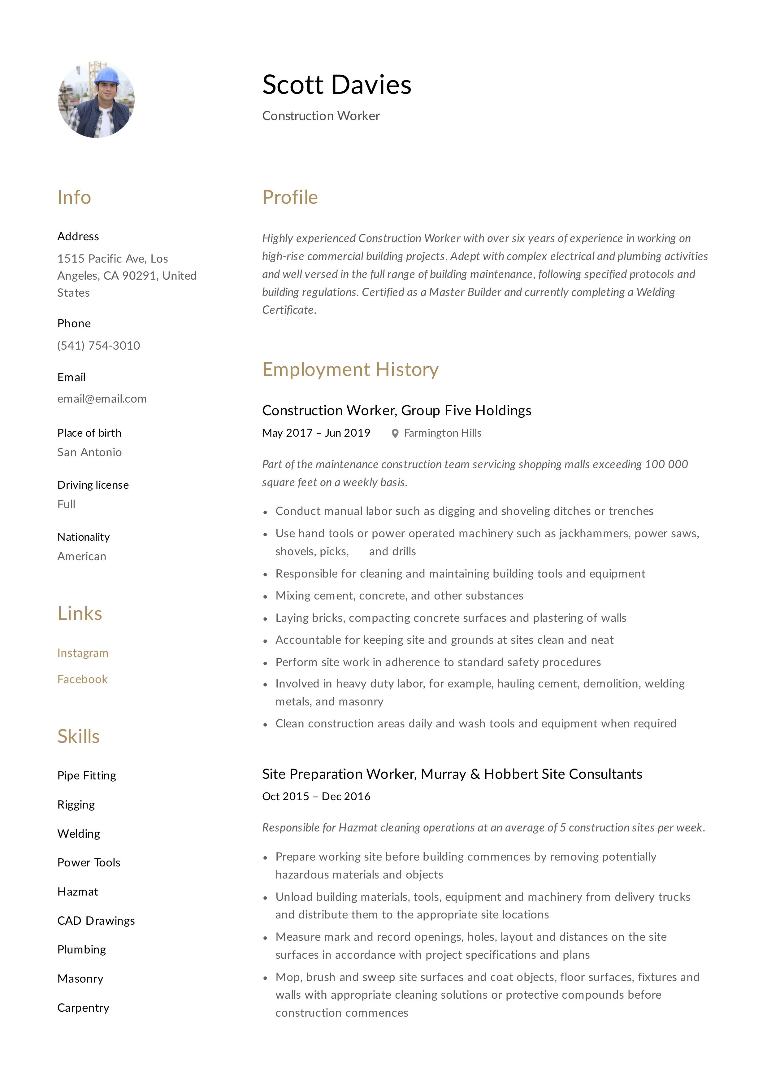 Construction Worker Resume Writing Guide 12 Templates 2020