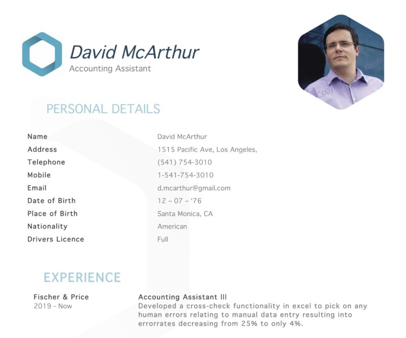 modern creative color word resume