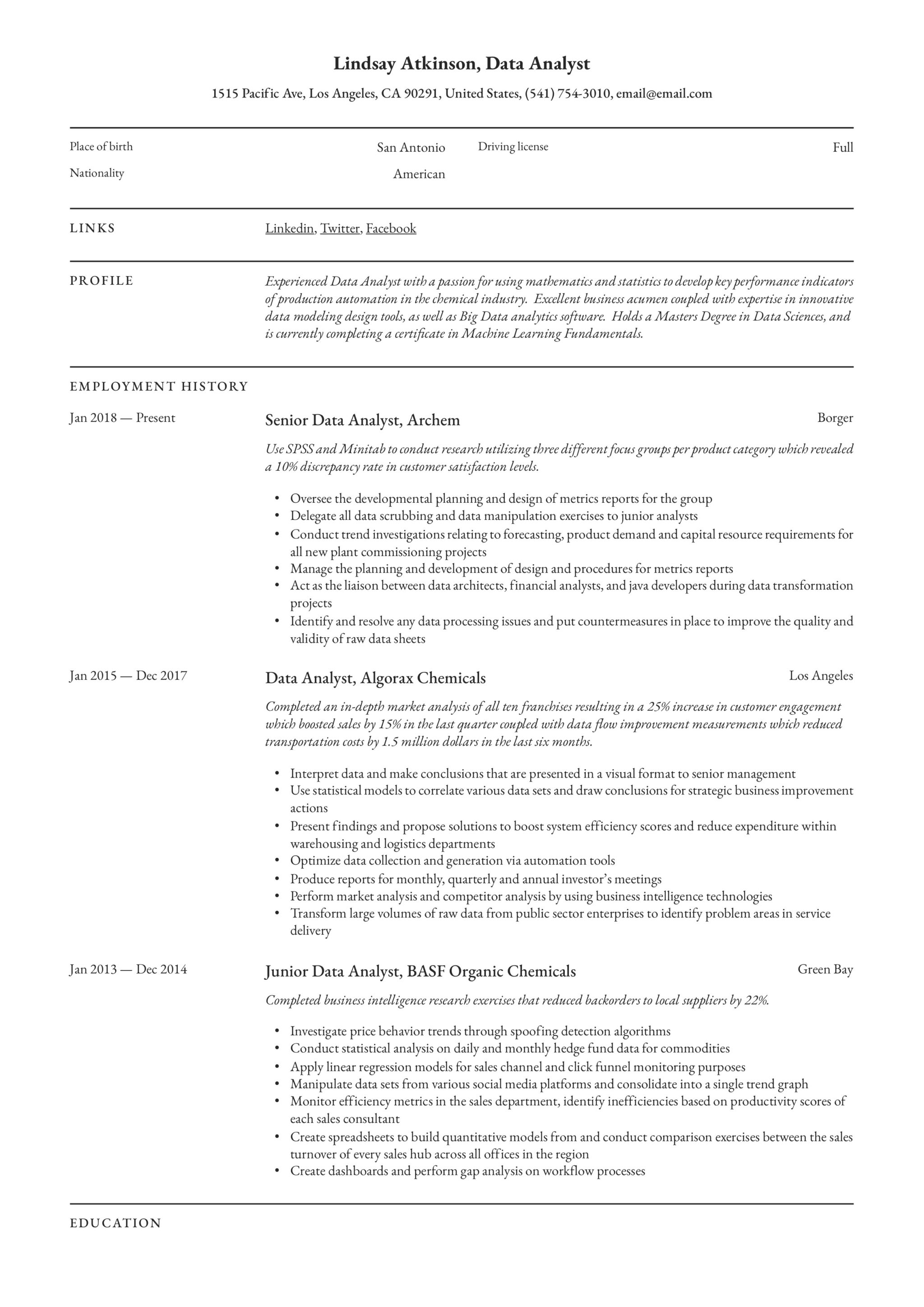Resume Example Data Analyst