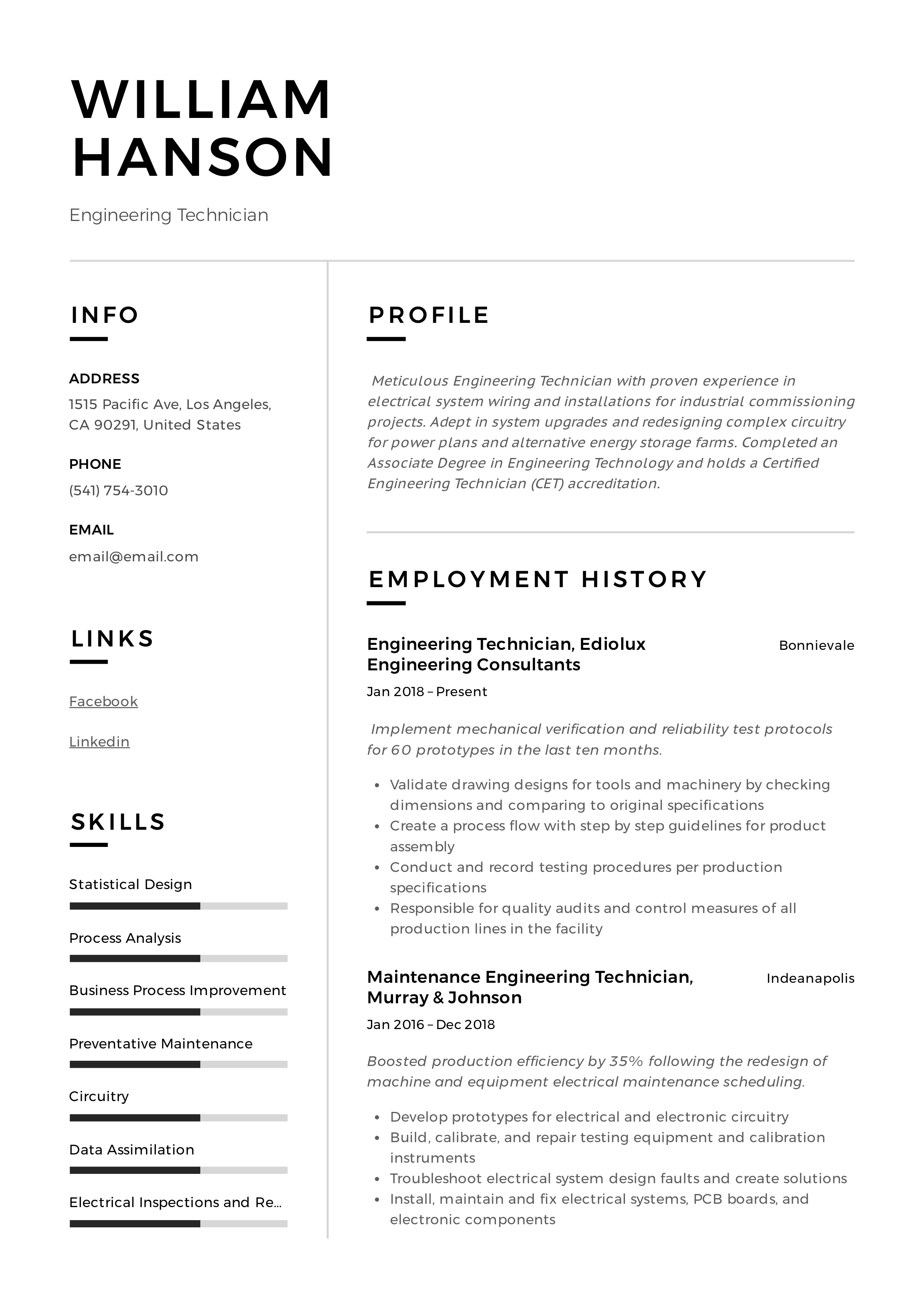 Engineering Technician Resume Writing Guide 12 Templates 2020