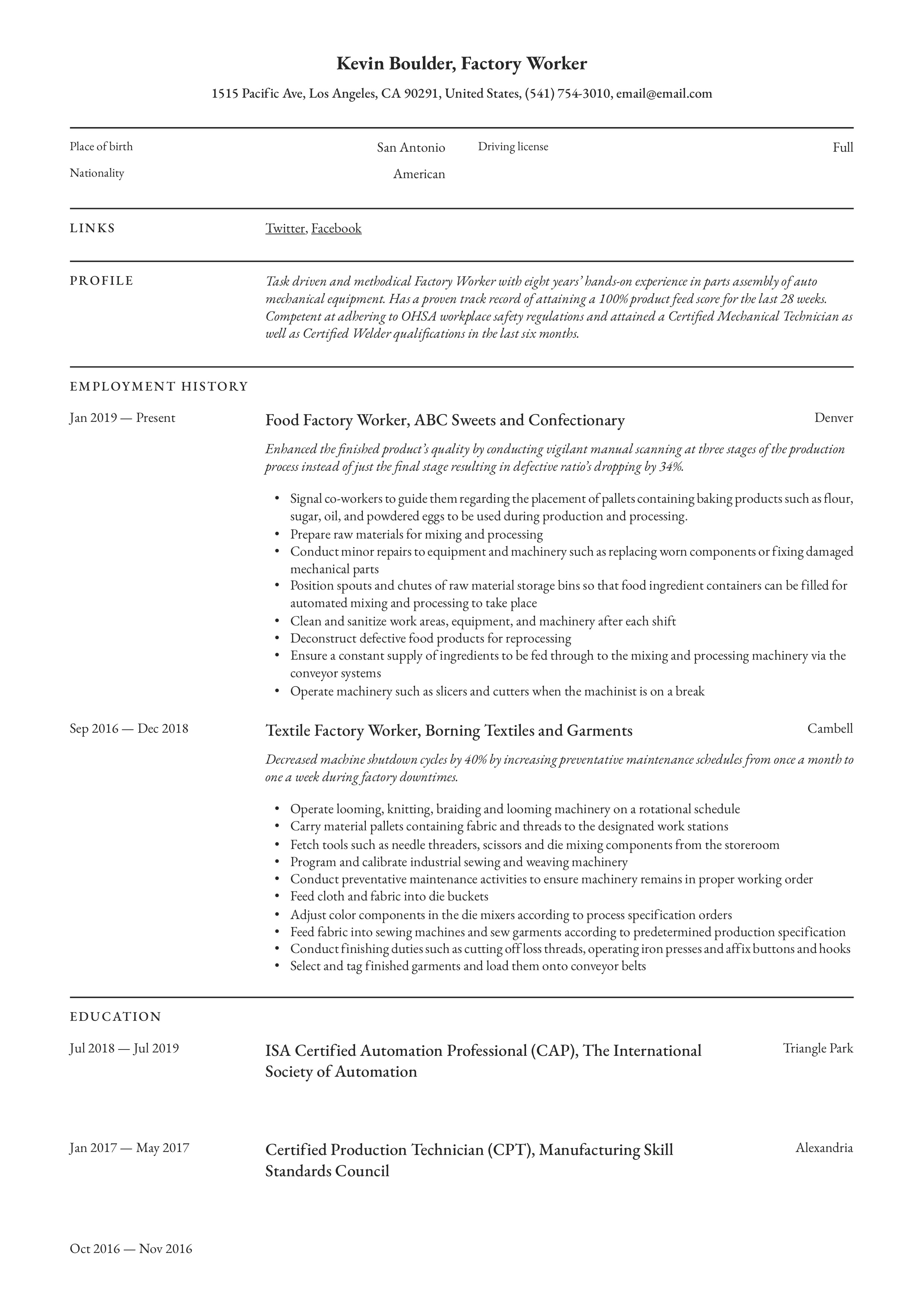 factory worker resume  u0026 writing guide