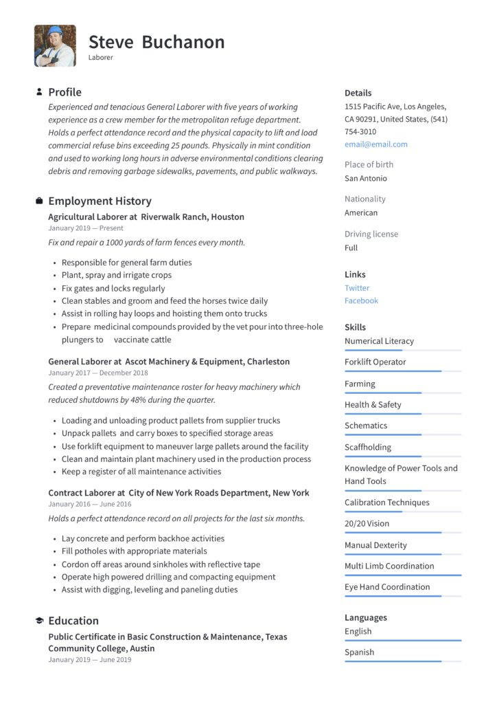 Resume Sample General Laborer