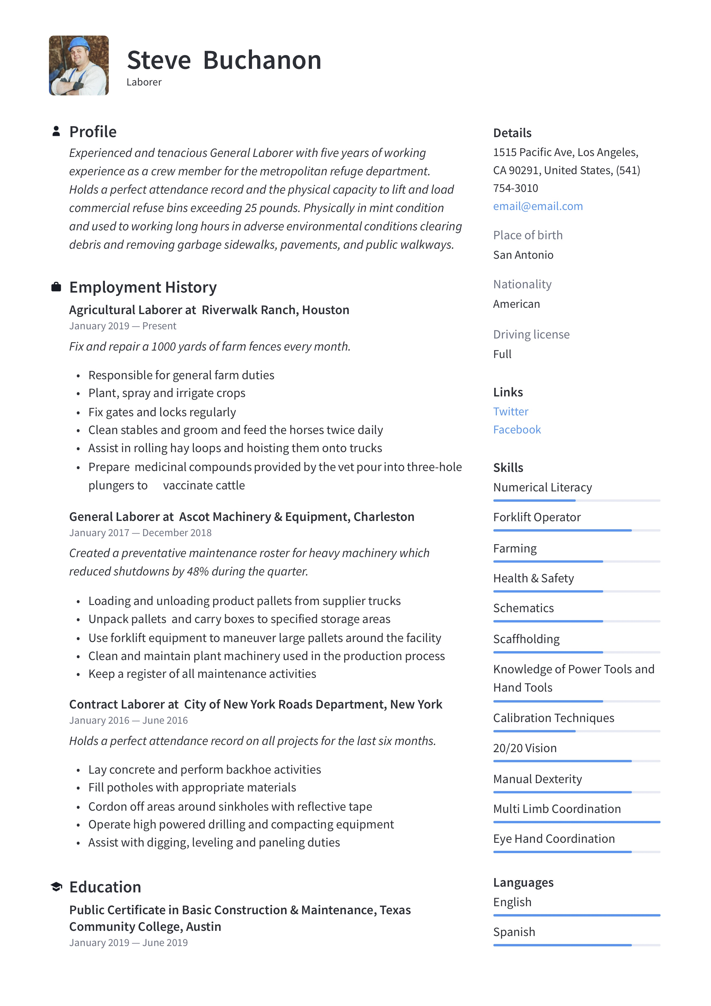 General Laborer Resume & Writing Guide | +12 Free Templates ...