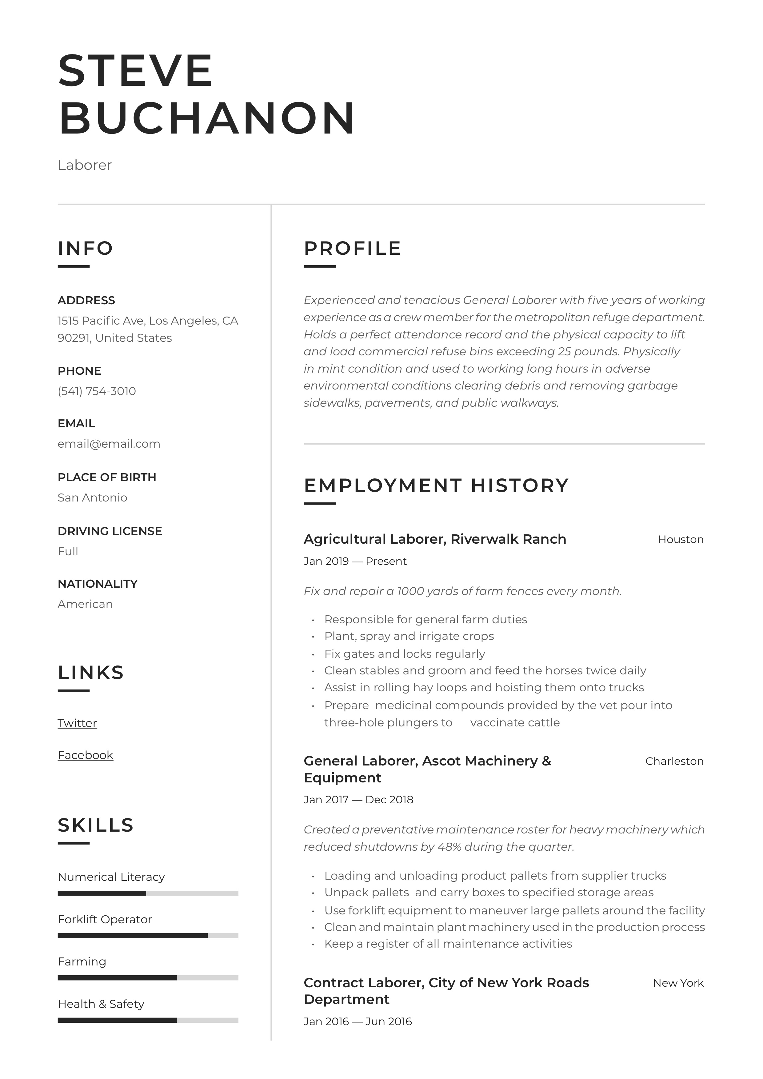 Resume Example General Laborer