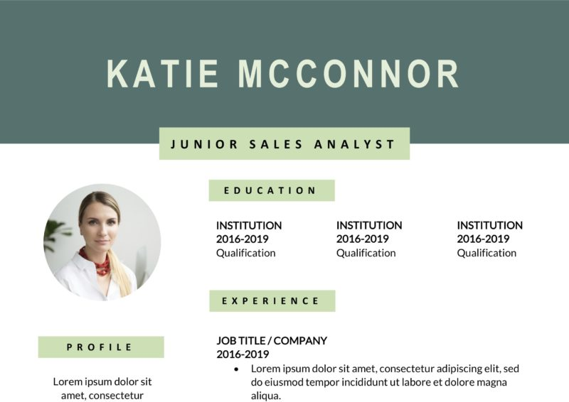 green and light green resume design example