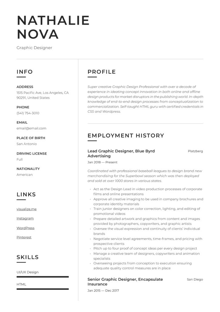 Resume Example Graphic Designer