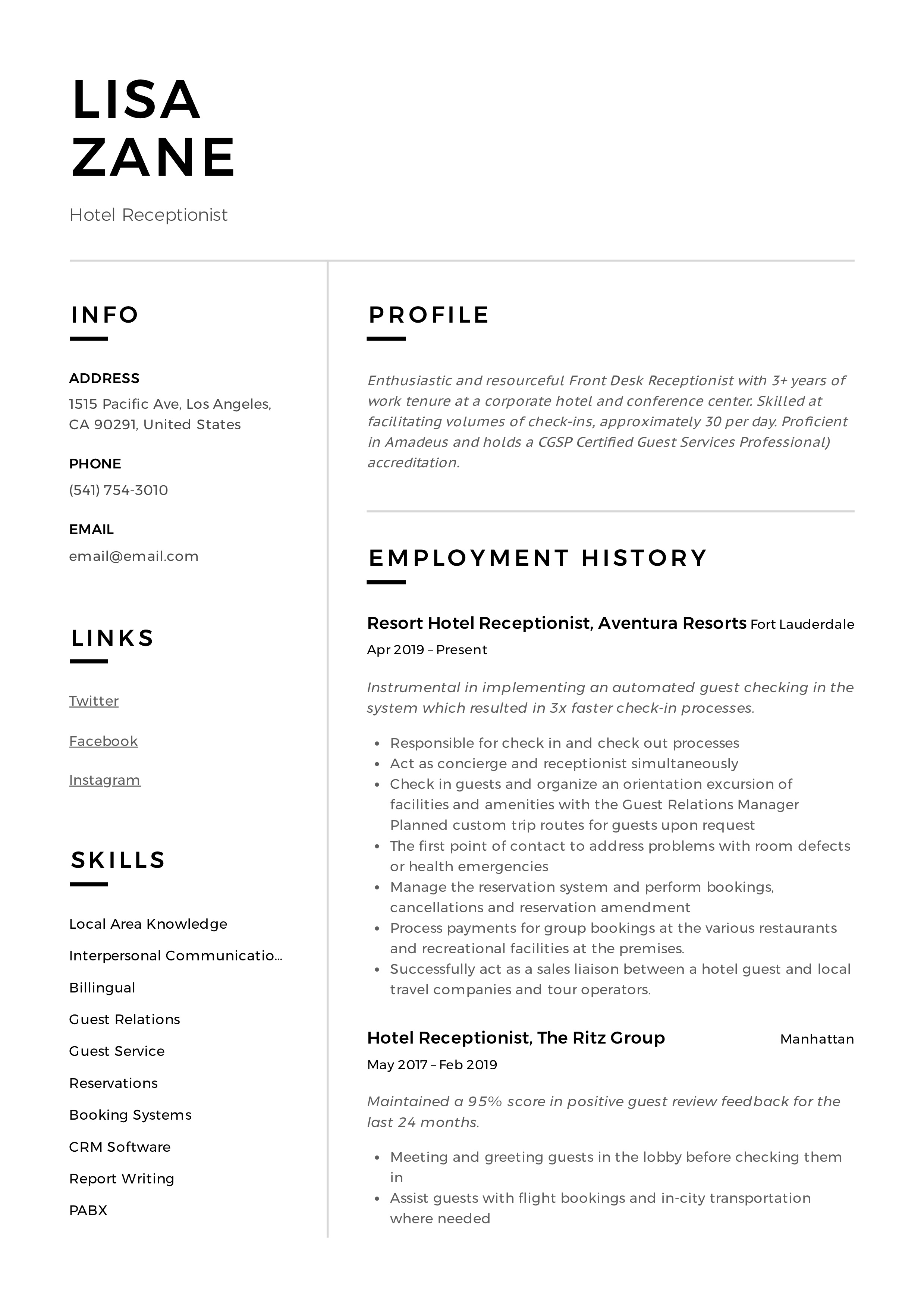 Hotel Receptionist Resume Amp Writing Guide 12 Templates