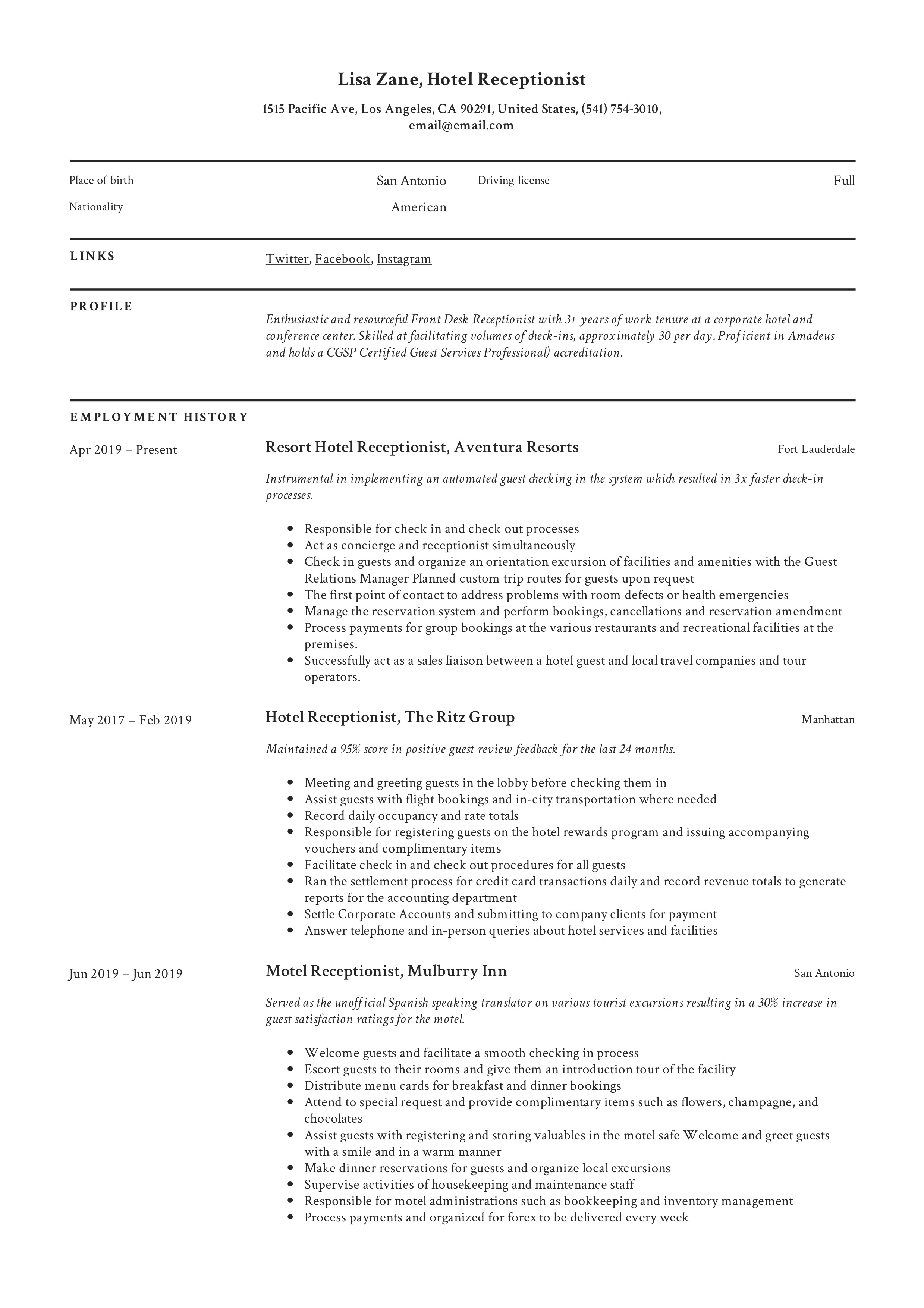 Hotel Receptionist Resume Writing Guide 12 Templates 2020
