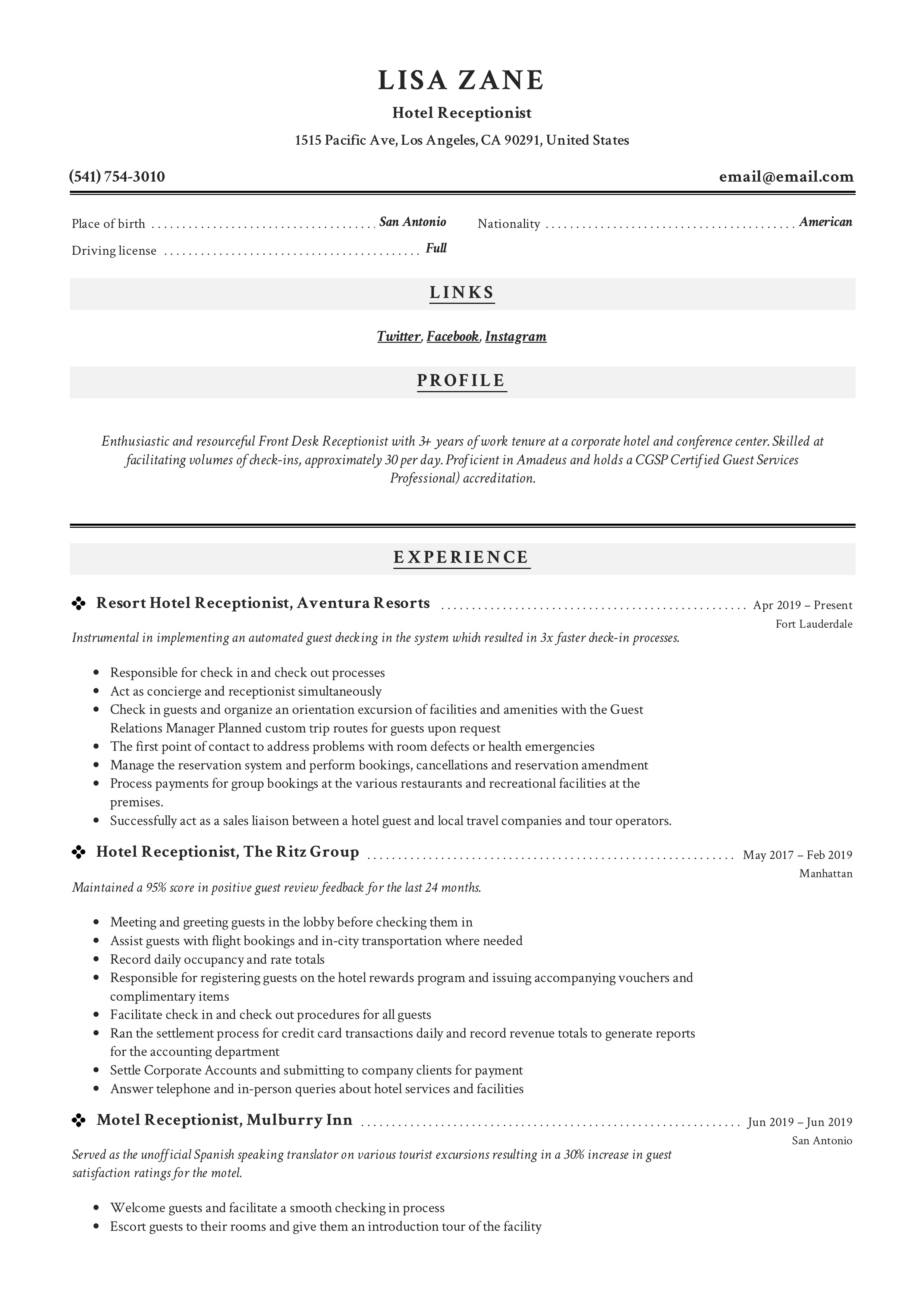 hotel receptionist resume  writing guide  12 templates