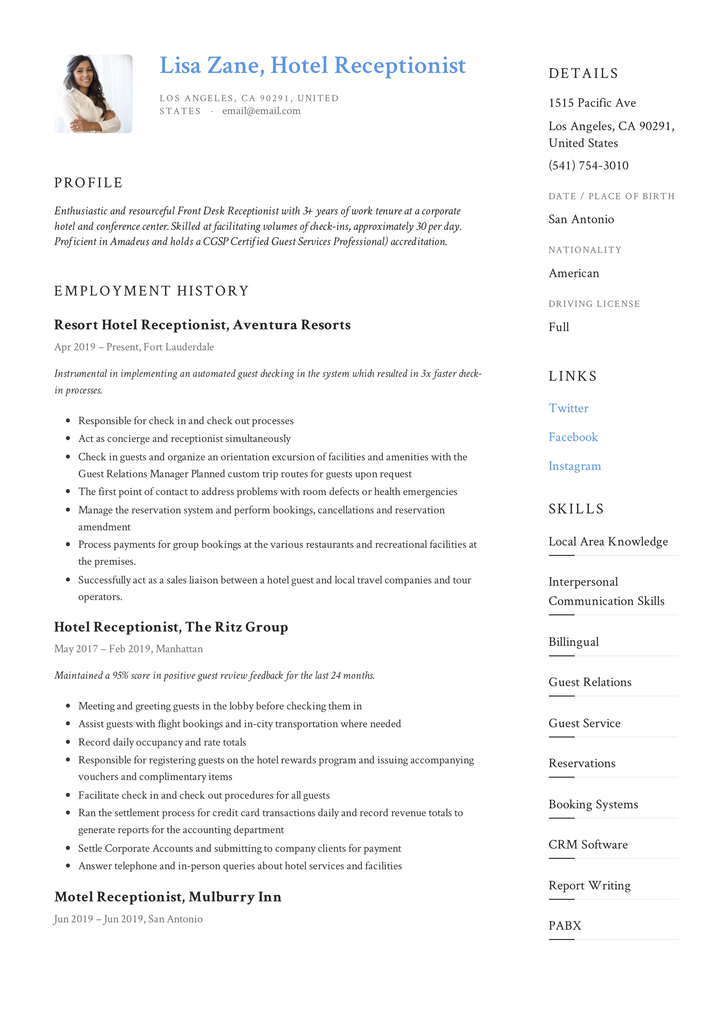 Writing a cv for academic positions receptionist