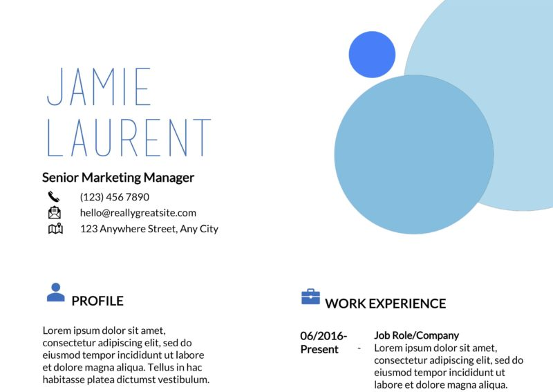Three blues resume template